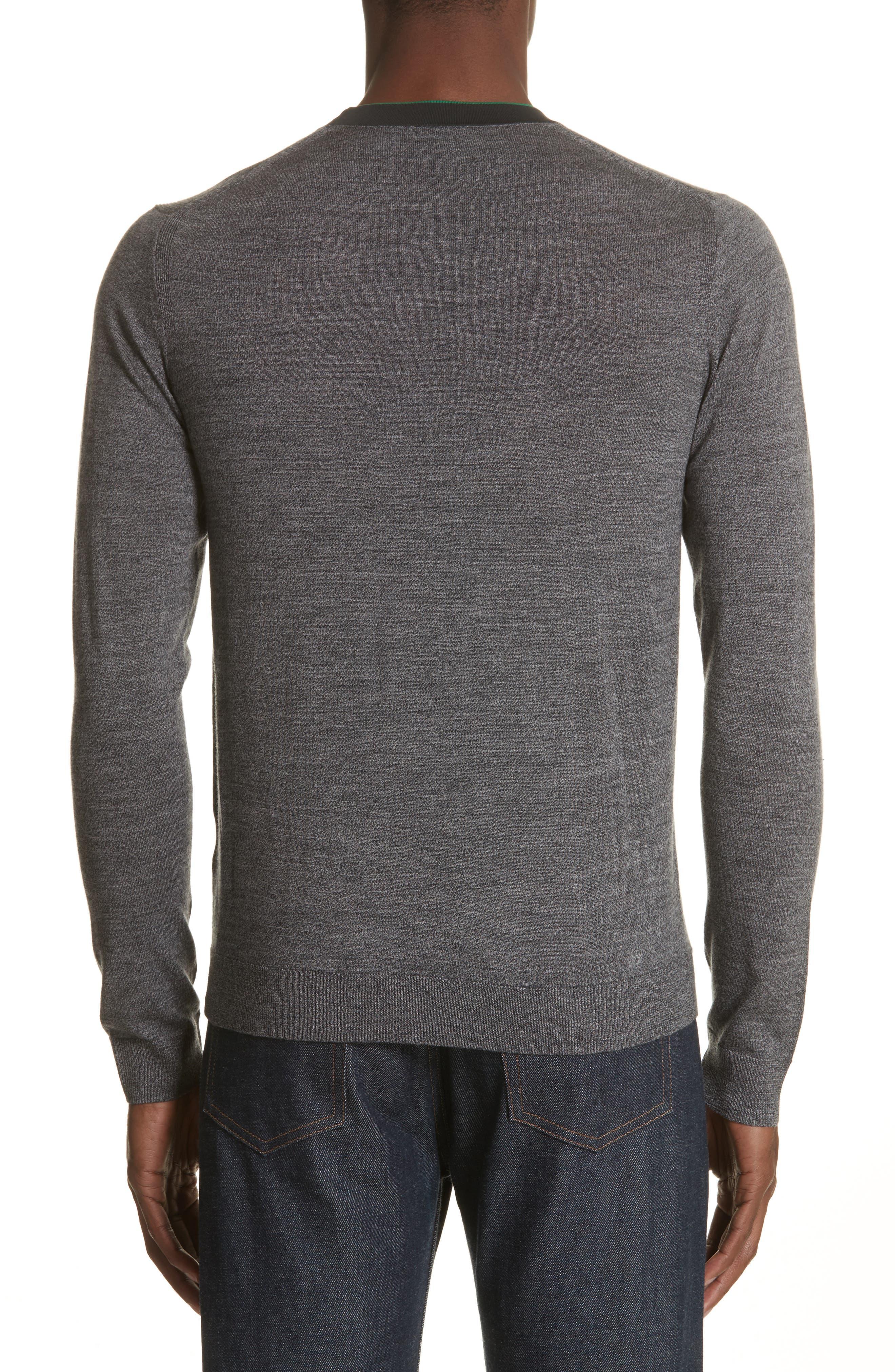 Crewneck Merino Wool Blend Sweater,                             Alternate thumbnail 2, color,                             Grey