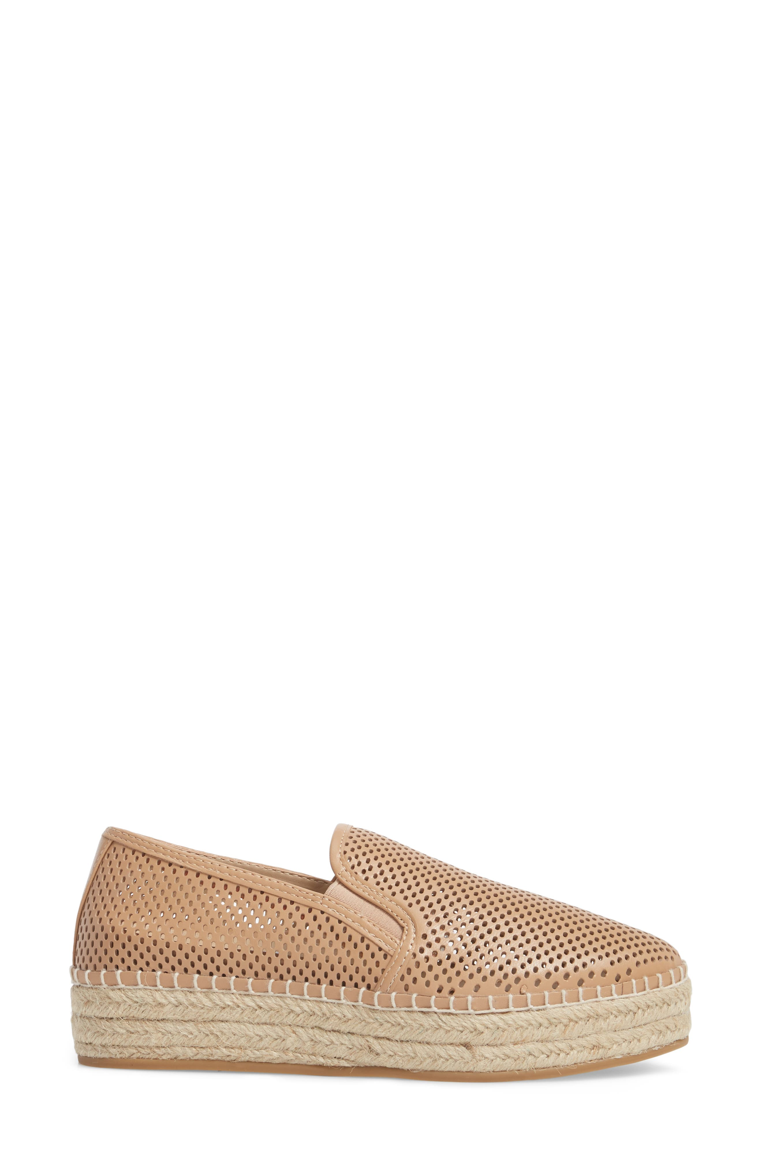Wright Perforated Platform Espadrille,                             Alternate thumbnail 3, color,                             Natural Leather