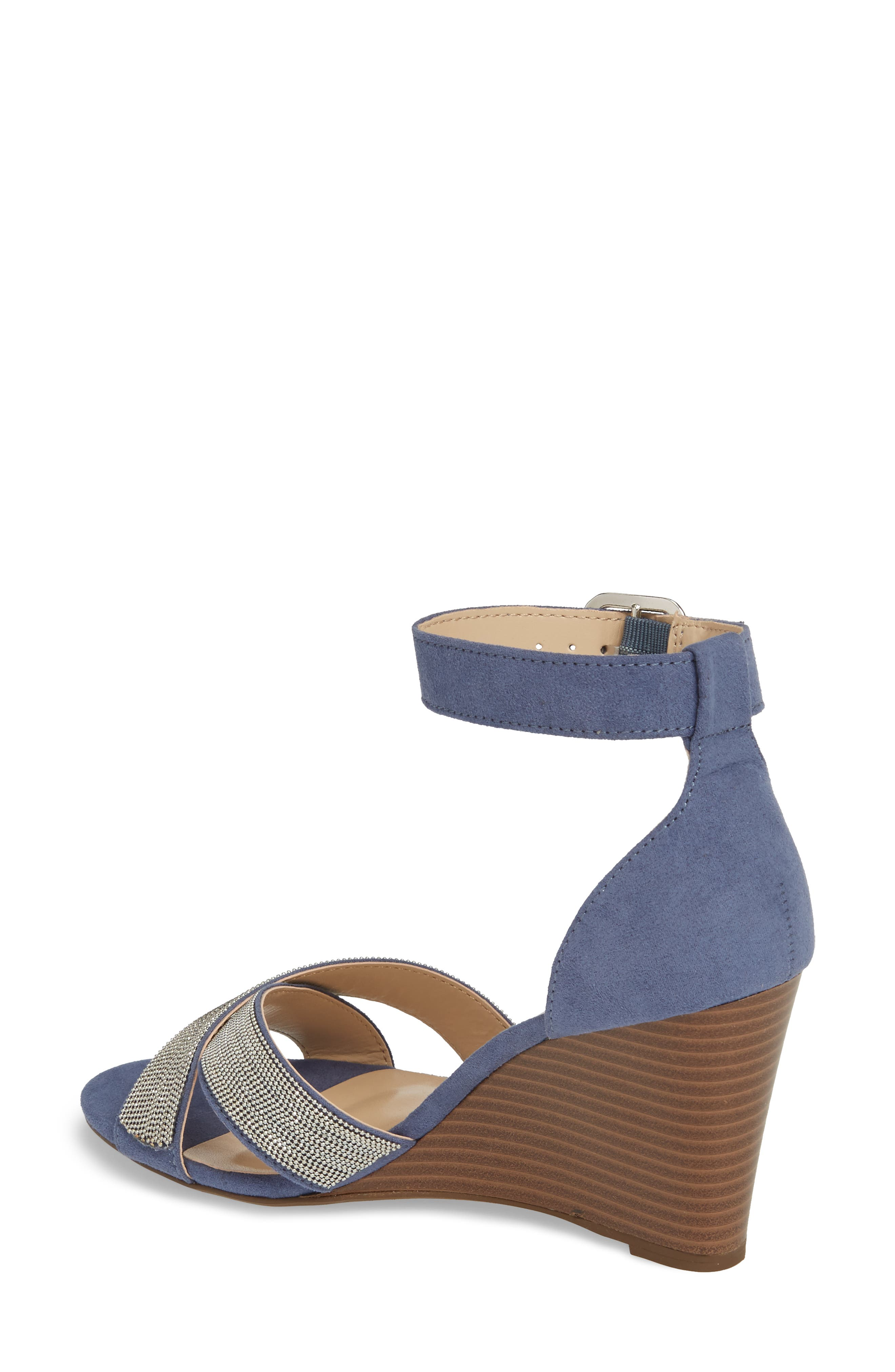 Zorra Wedge Sandal,                             Alternate thumbnail 2, color,                             Blue Suede