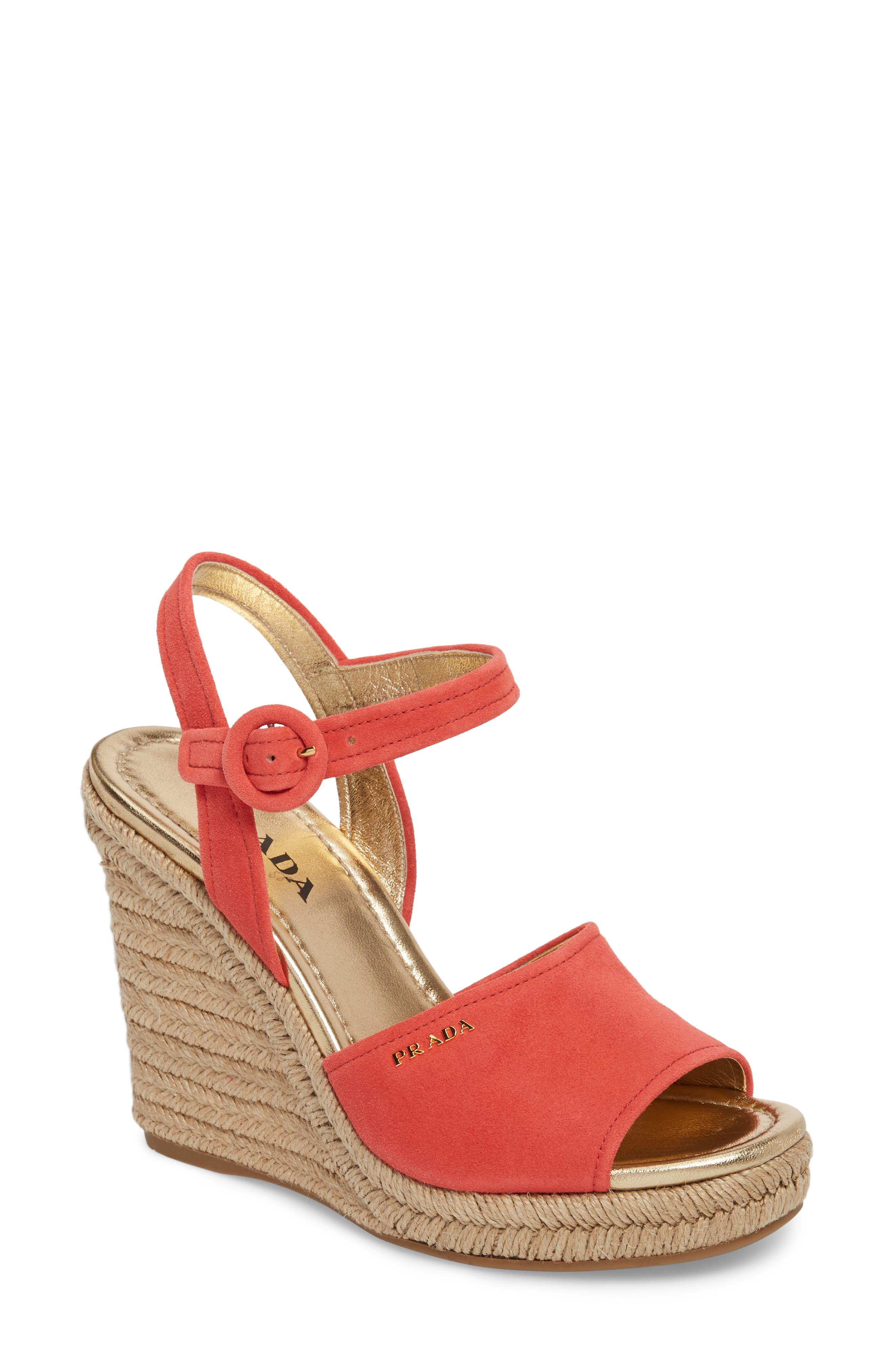 Espadrille Wedge Sandal,                         Main,                         color, Red