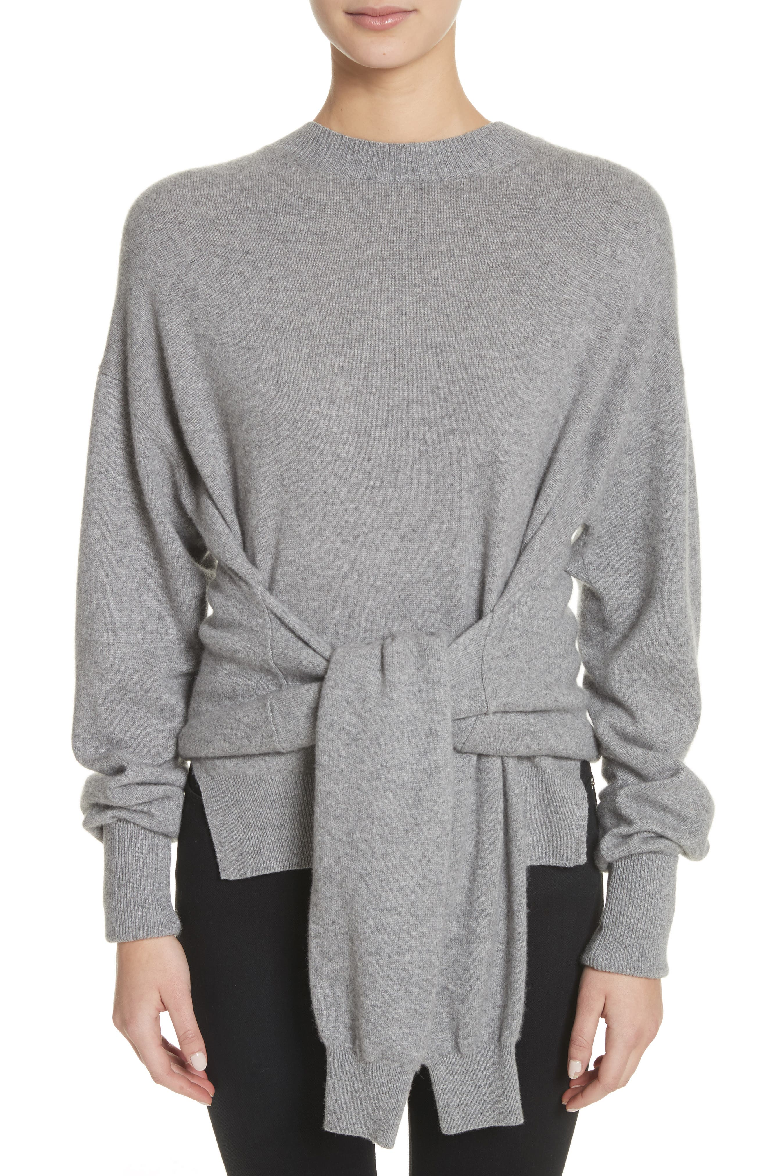 Inverted Tie Waist Wool & Cashmere Blend Sweater,                             Main thumbnail 1, color,                             Heather Grey