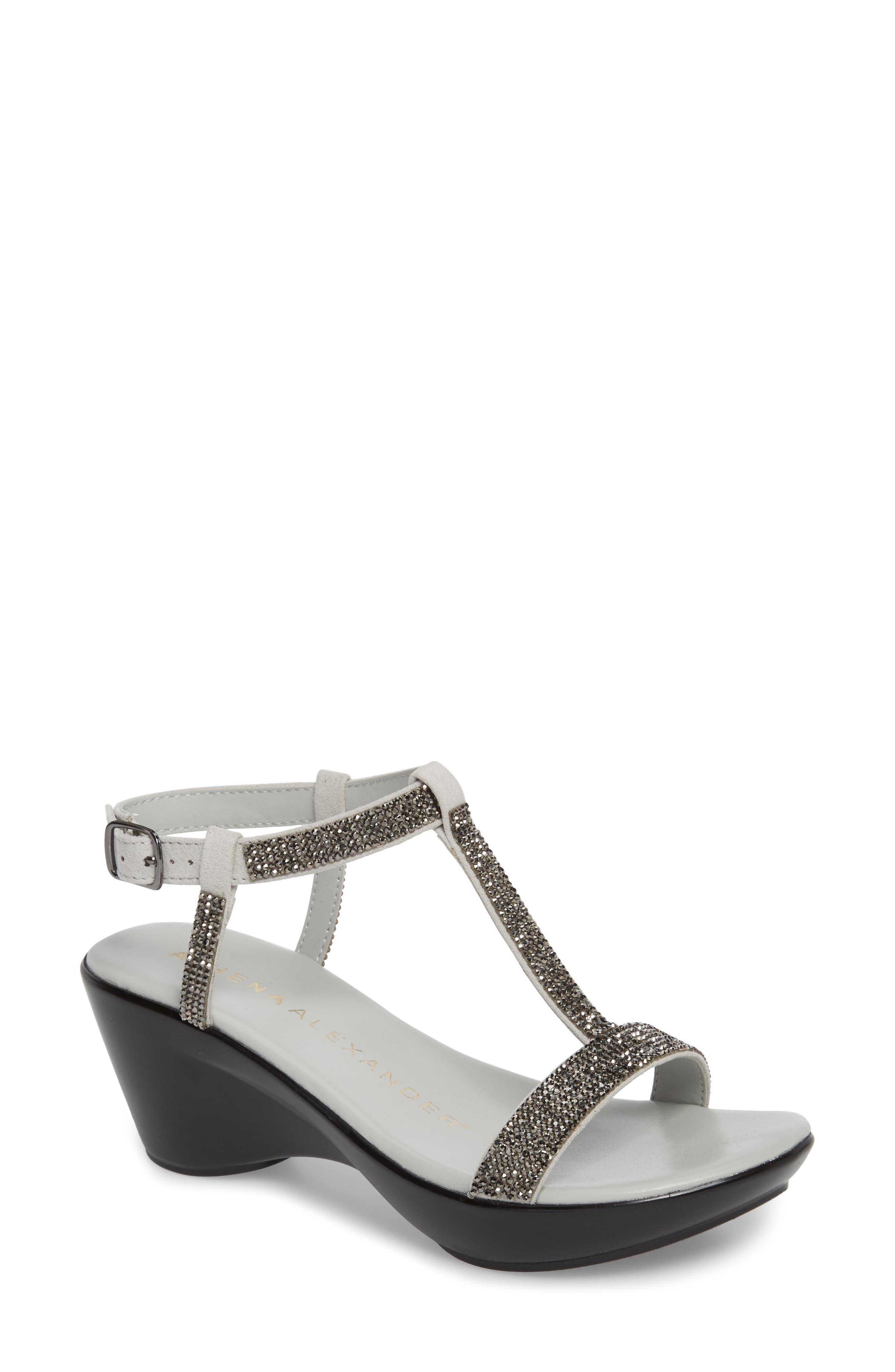 Athena Alexandar Karinya Embellished Strappy Wedge Sandal,                         Main,                         color, Grey Suede