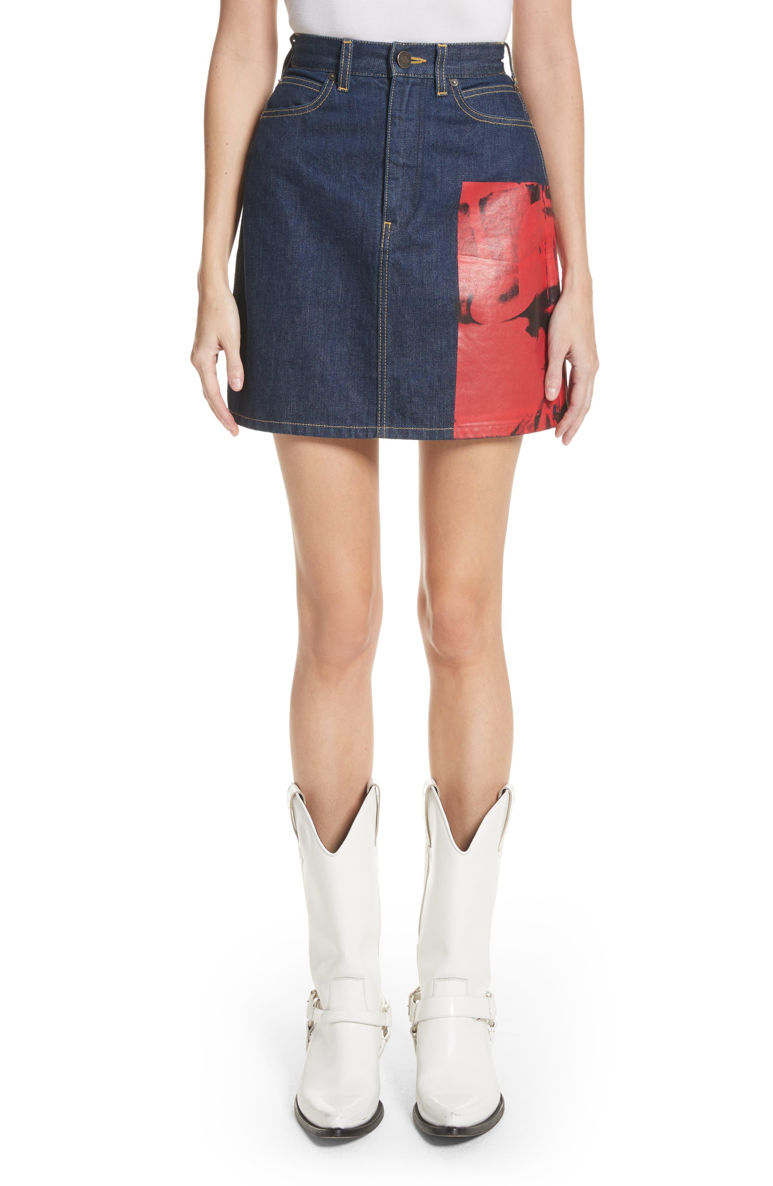 x Andy Warhol Foundation Dennis Hopper Denim Skirt,                         Main,                         color, Blue Molten Lava
