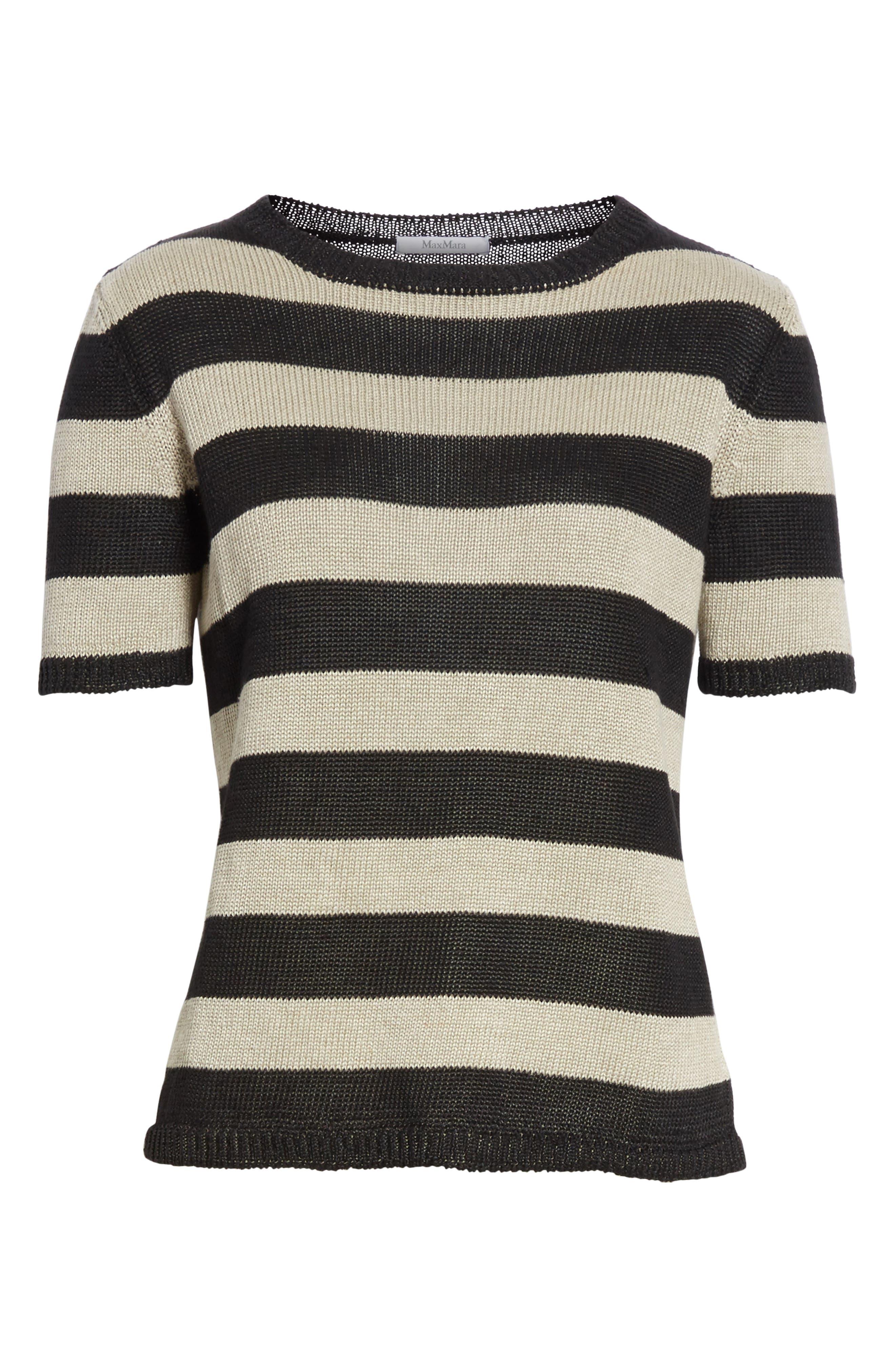 Filly Stripe Linen Sweater,                             Alternate thumbnail 7, color,                             Sand