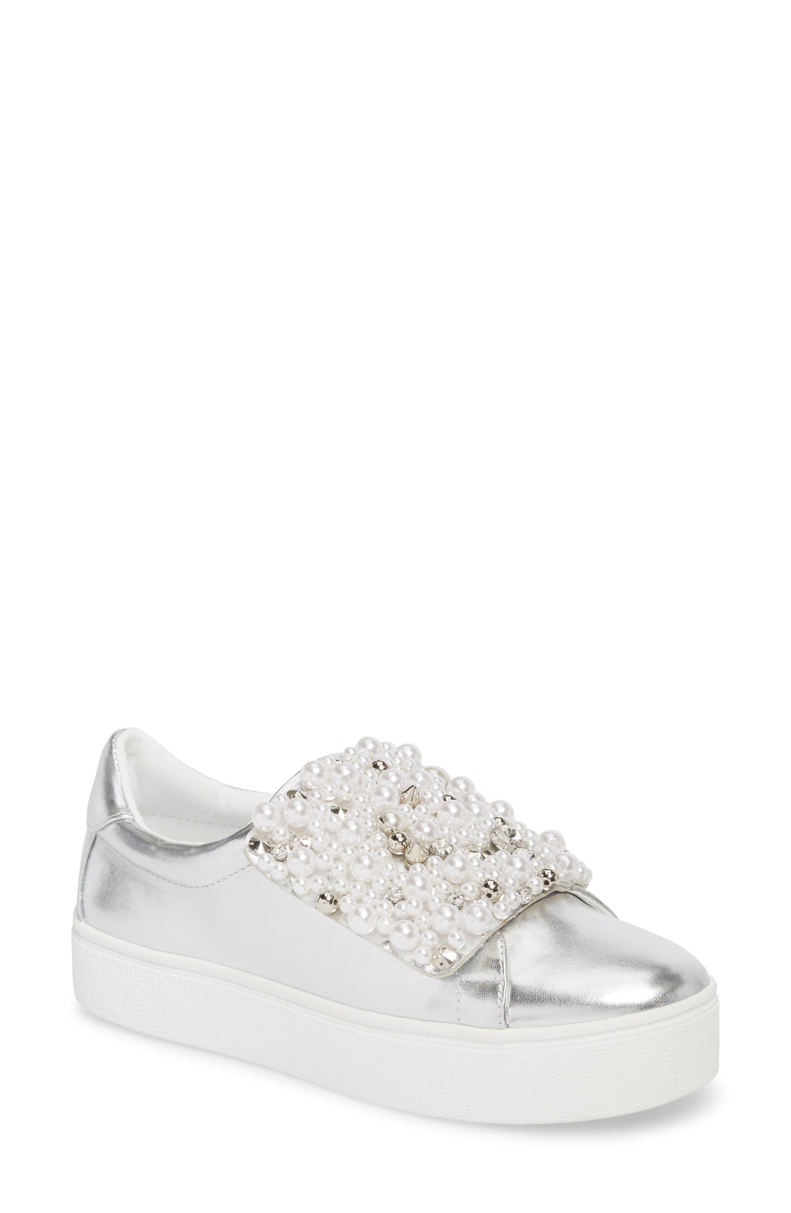 Lion Embellished Slip-On Platform Sneaker,                         Main,                         color, Silver Faux Leather