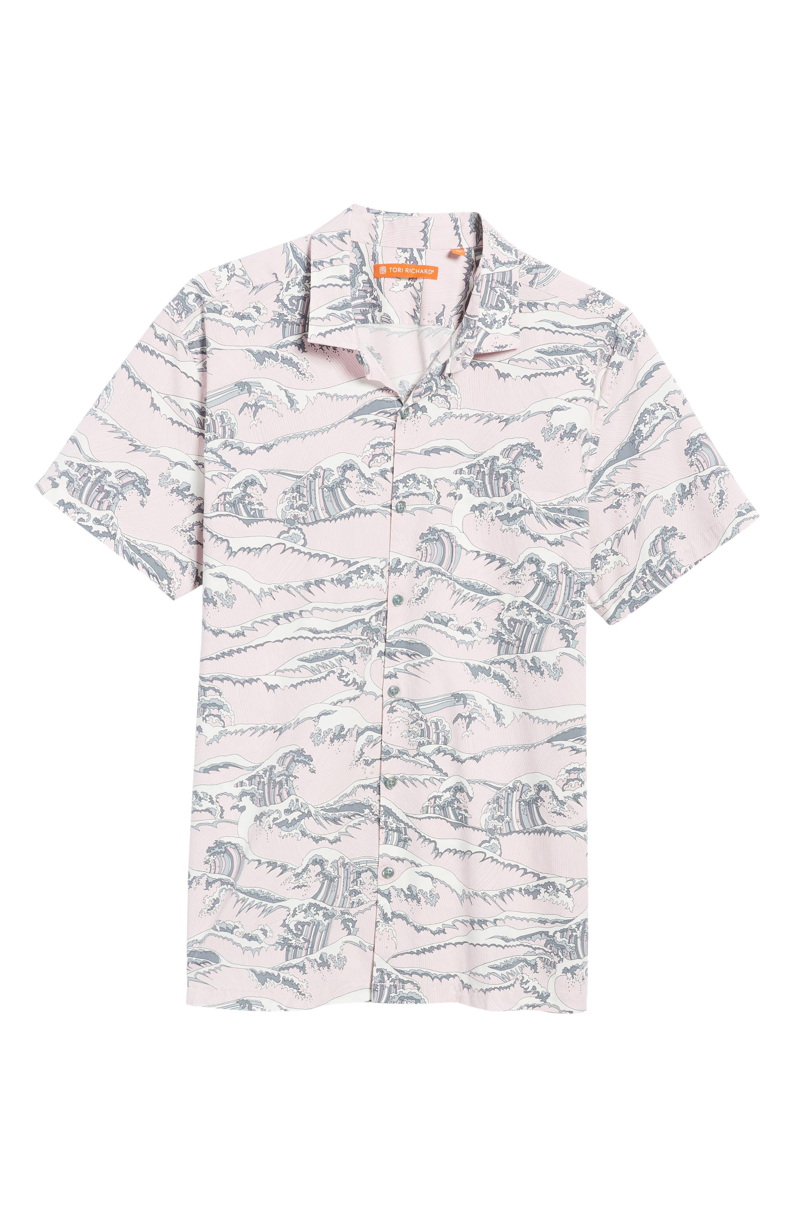 Overboard Trim Fit Print Sport Shirt,                             Alternate thumbnail 6, color,                             Pink
