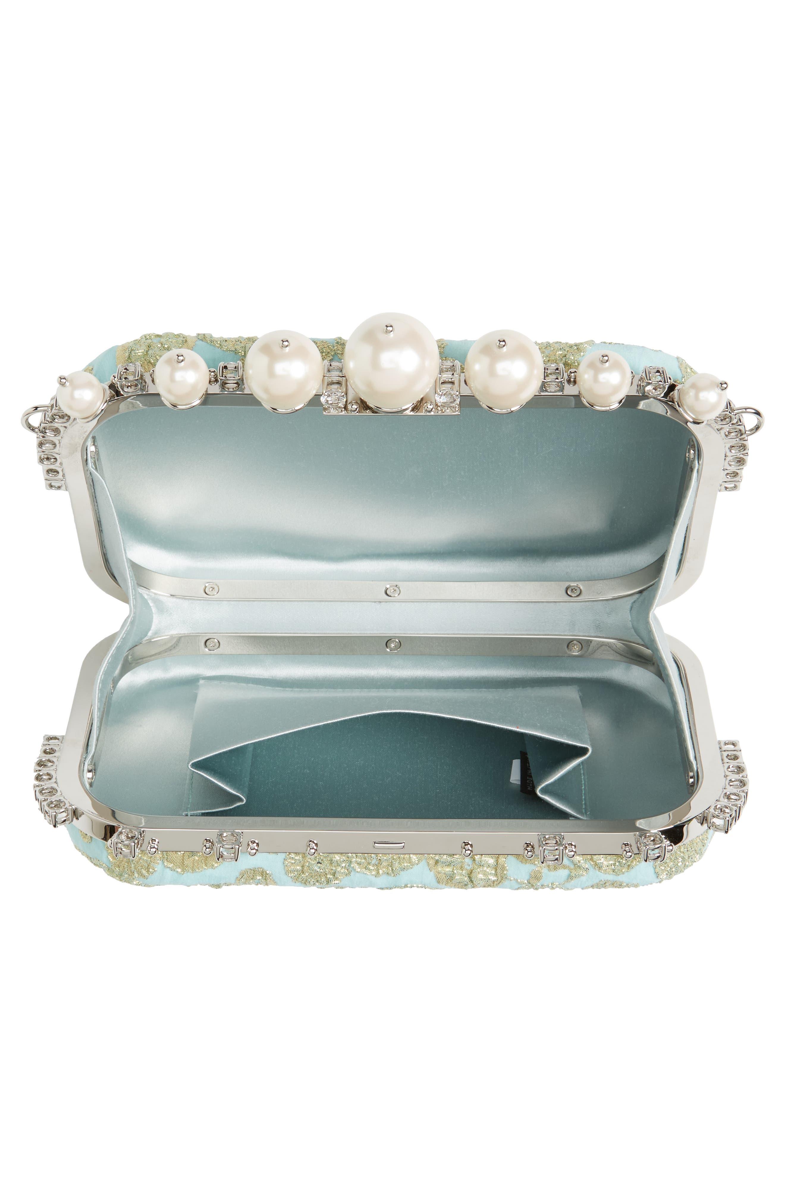Imitation Pearl & Metallic Brocade Shoulder Bag,                             Alternate thumbnail 4, color,                             Clorofilla