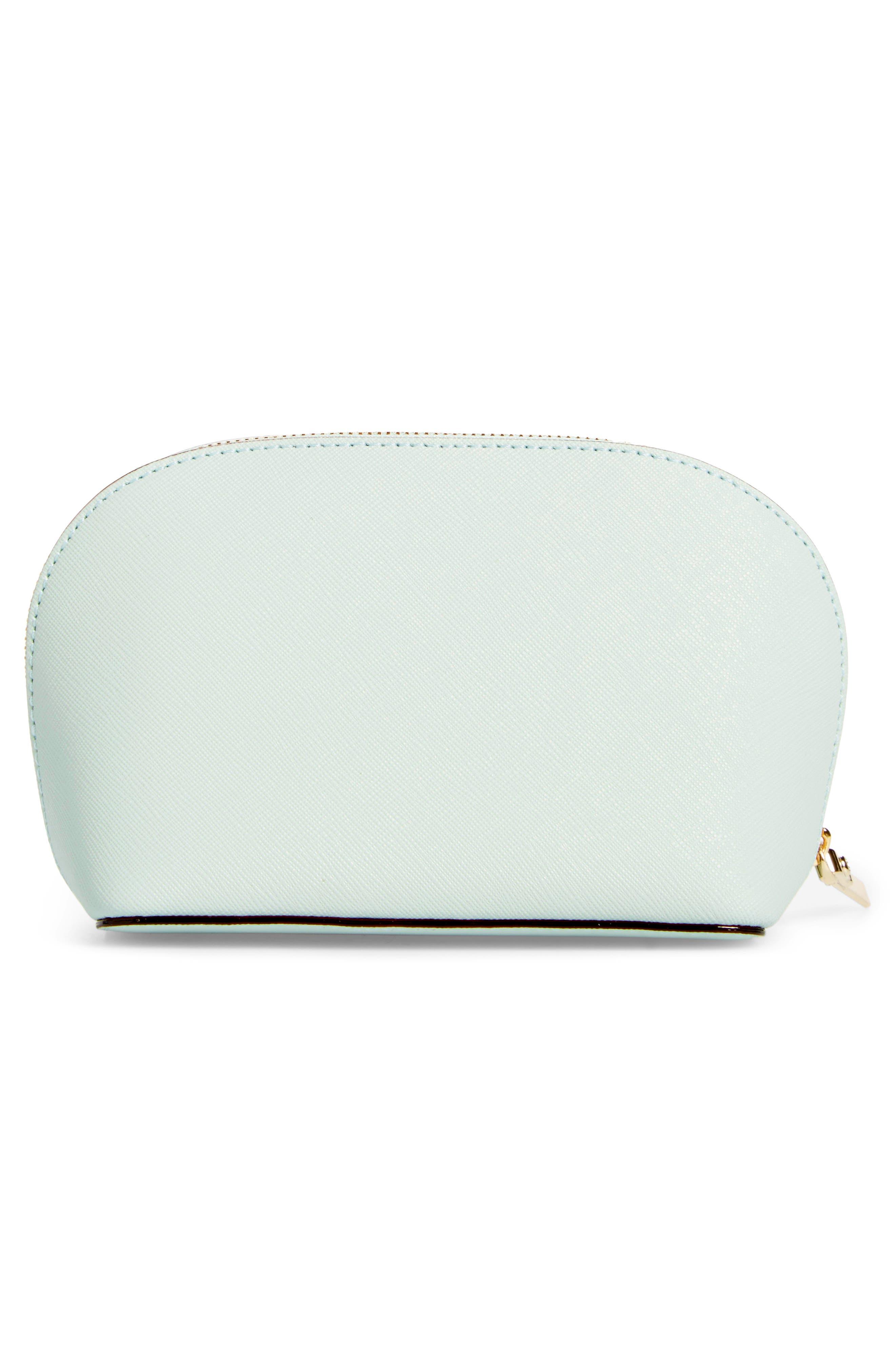 cameron street - small abalene leather cosmetics bag,                             Alternate thumbnail 2, color,                             Misty Mint