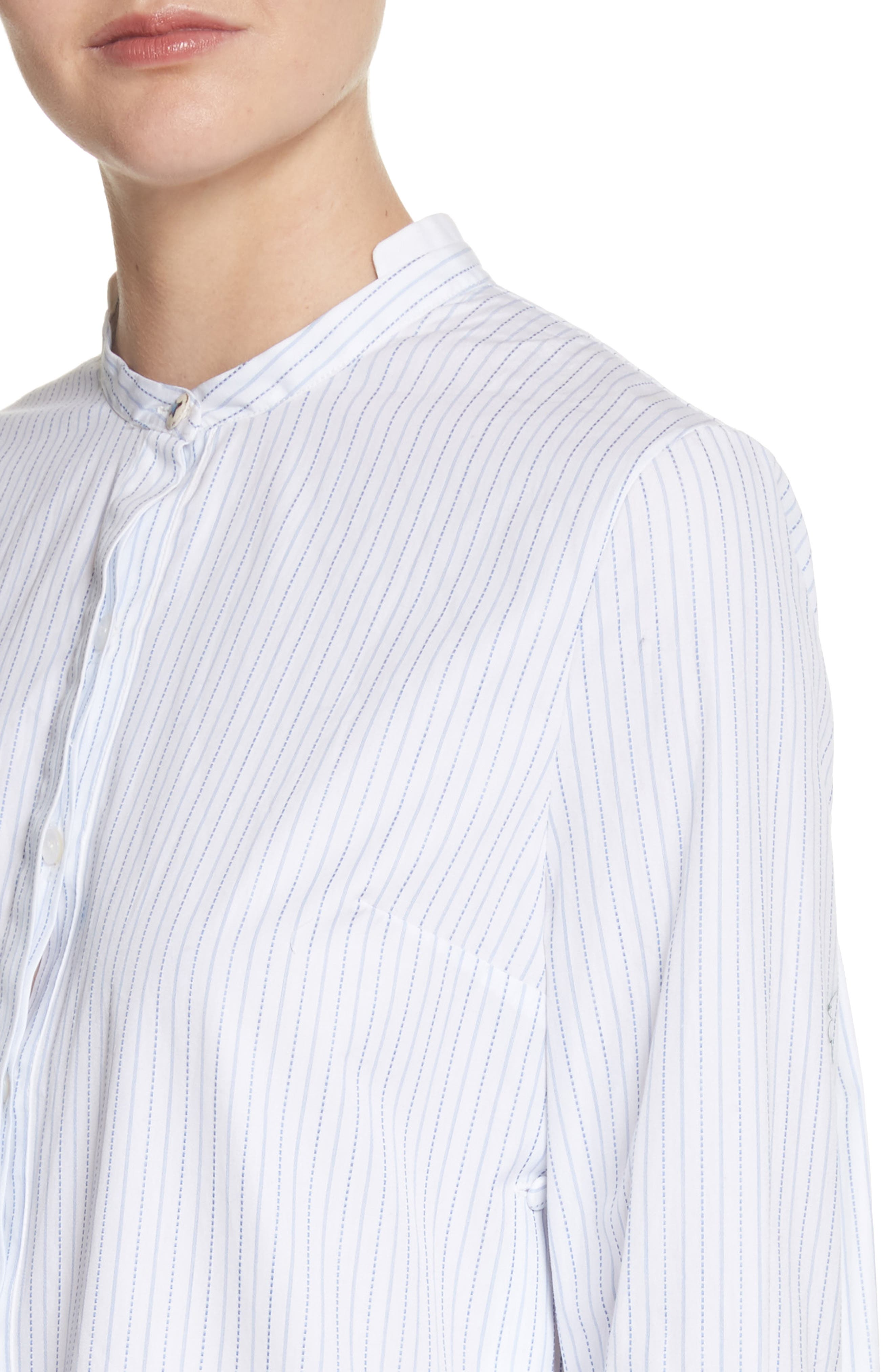 High/Low Stripe Cotton Poplin Shirt,                             Alternate thumbnail 4, color,                             White/ Blue