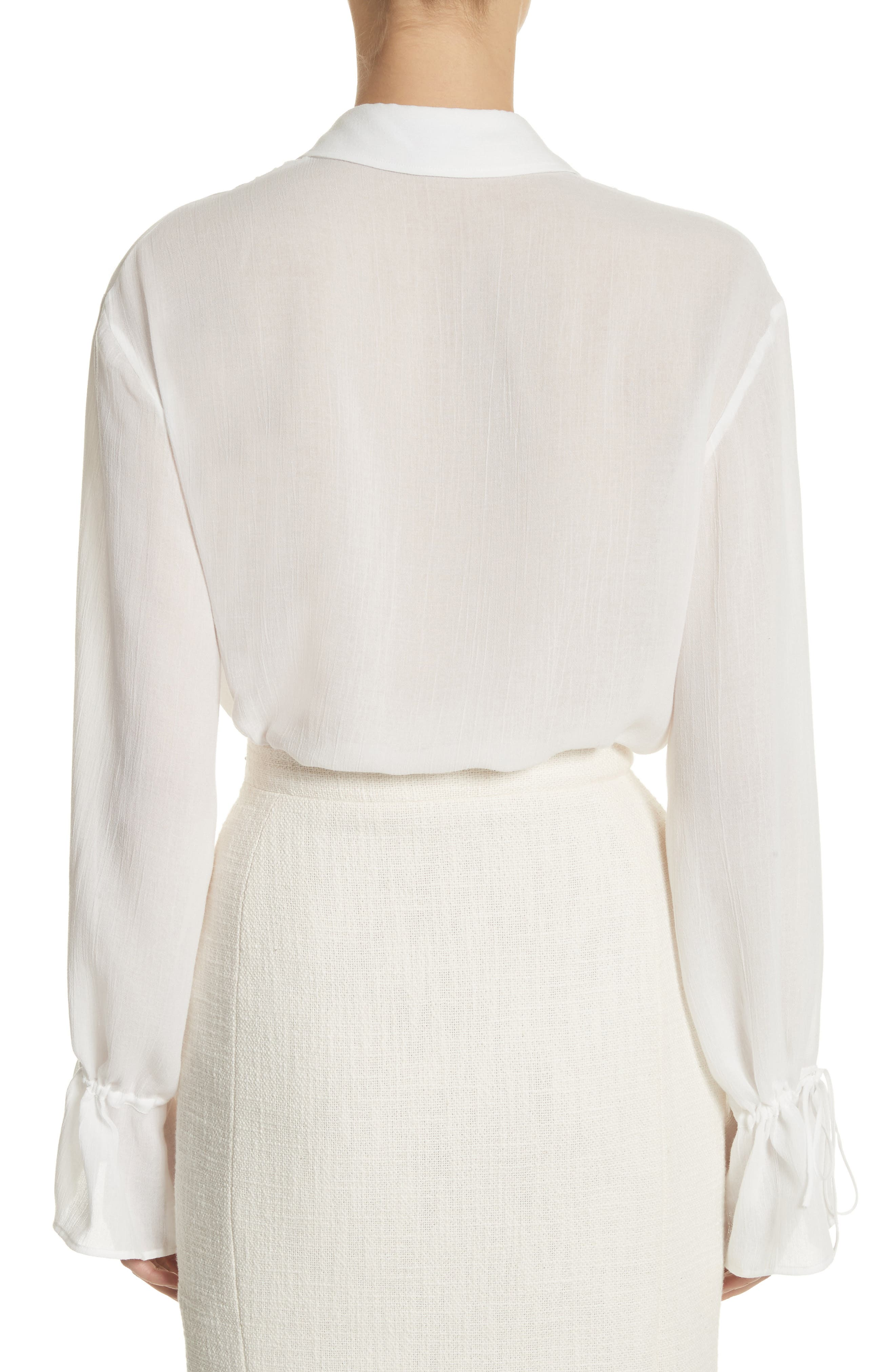 Ruched Detail Blouse,                             Alternate thumbnail 2, color,                             Optic White