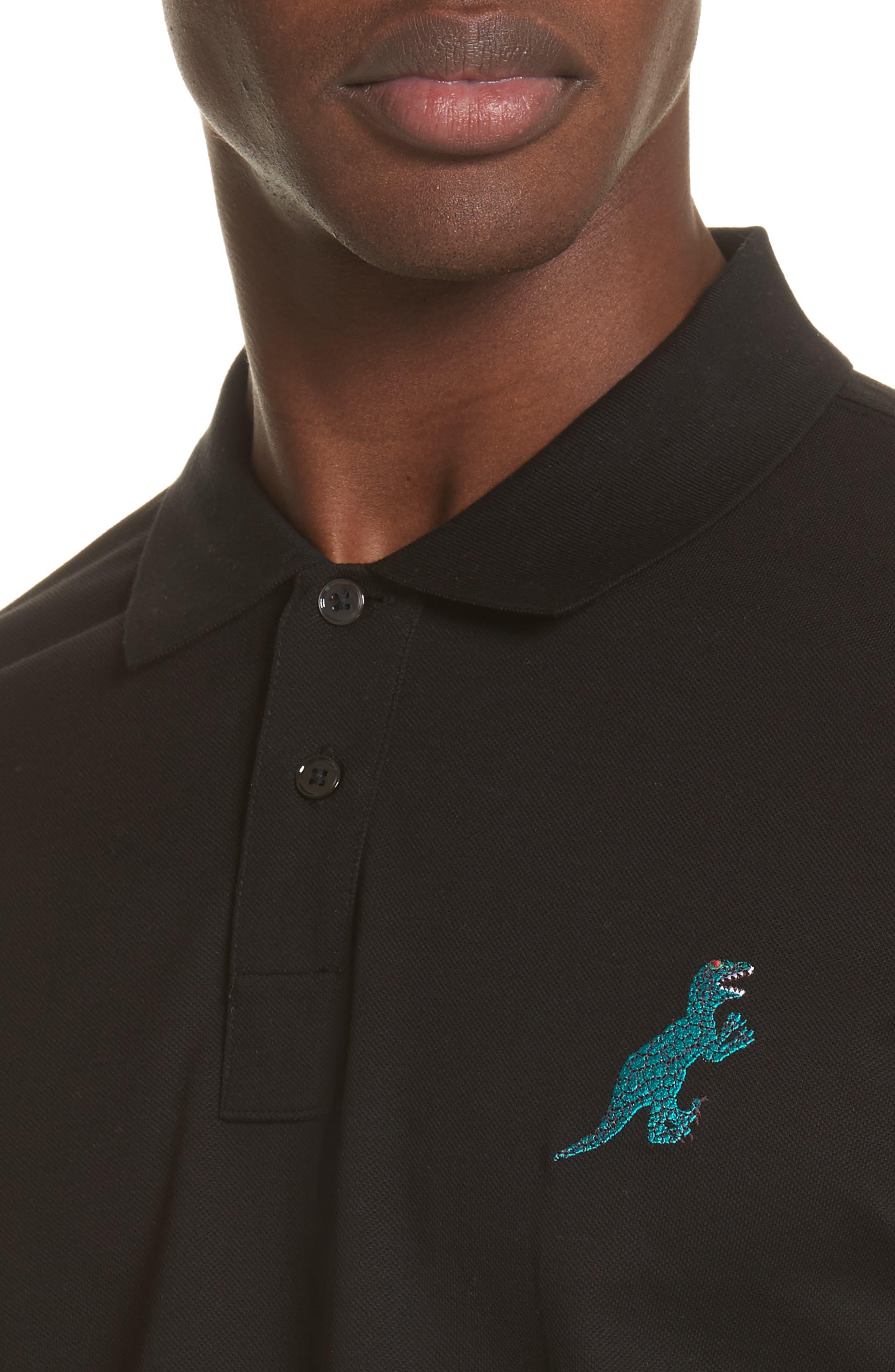 Embroidered Dino Piqué Polo,                             Alternate thumbnail 4, color,                             Black