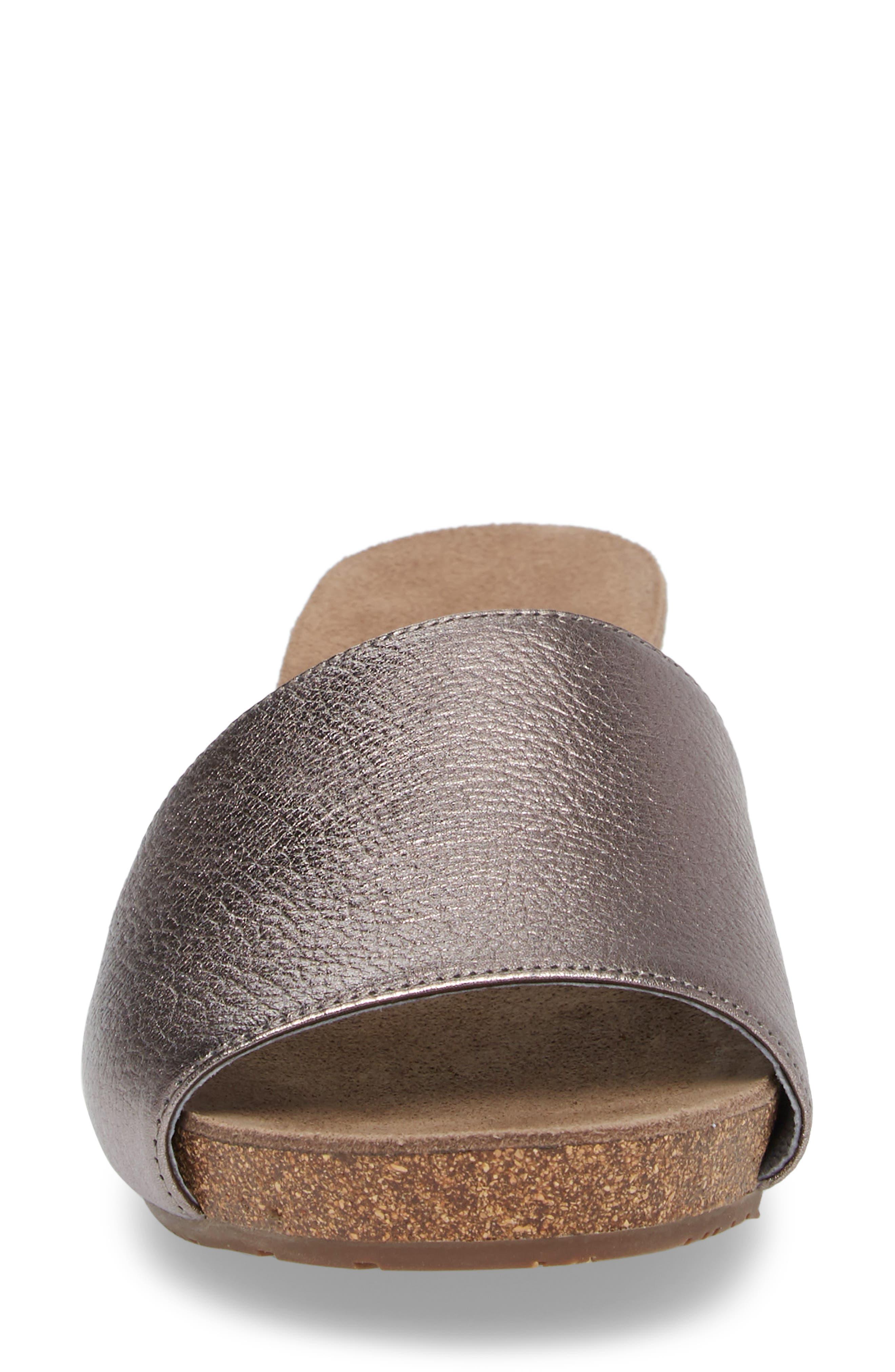Viveca Slide Sandal,                             Alternate thumbnail 4, color,                             Gunmetal Leather