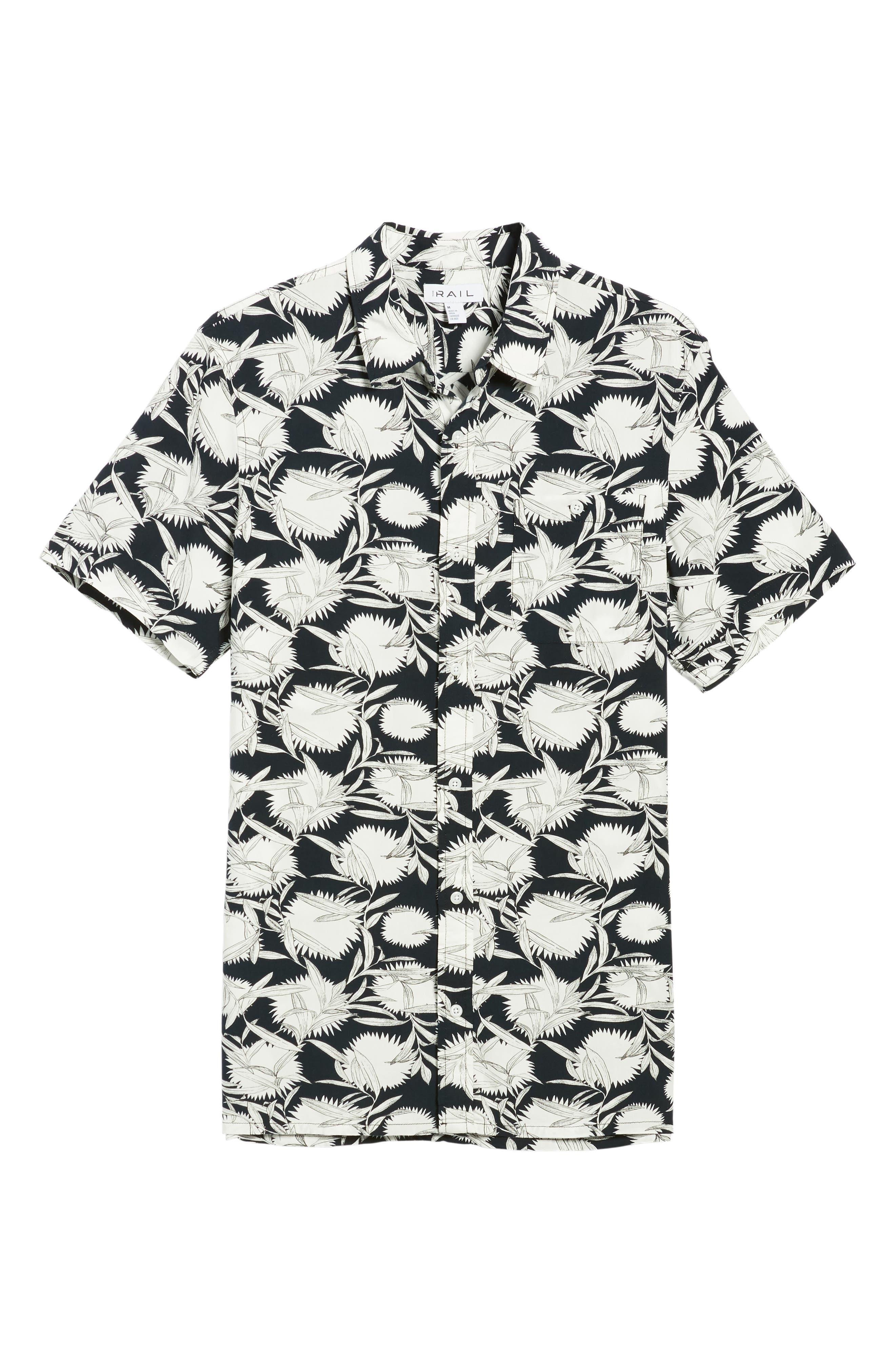 Print Woven Shirt,                             Alternate thumbnail 6, color,                             Black White Flower Leaf