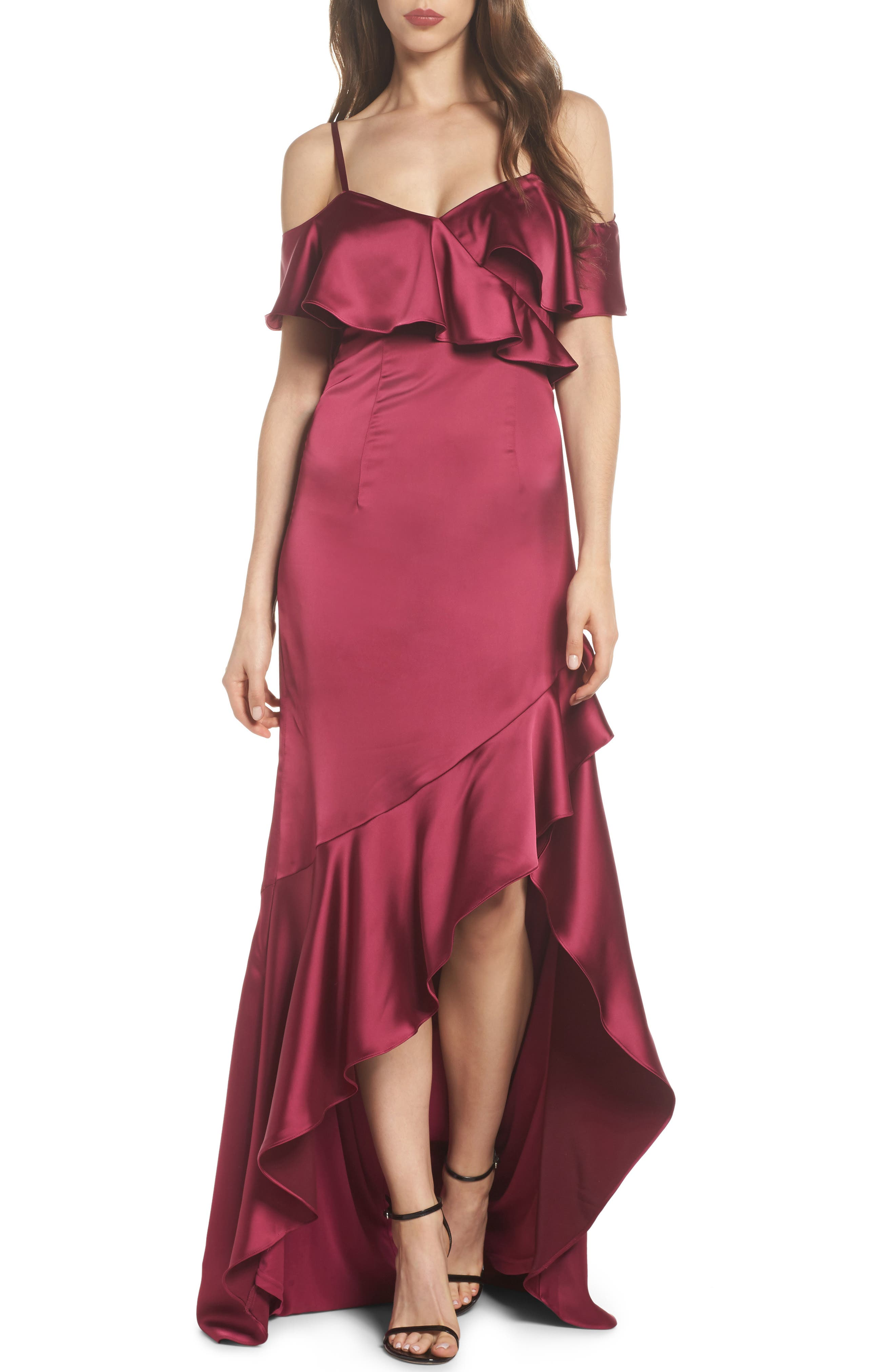 Ruffled Satin Gown,                         Main,                         color, Red Plum