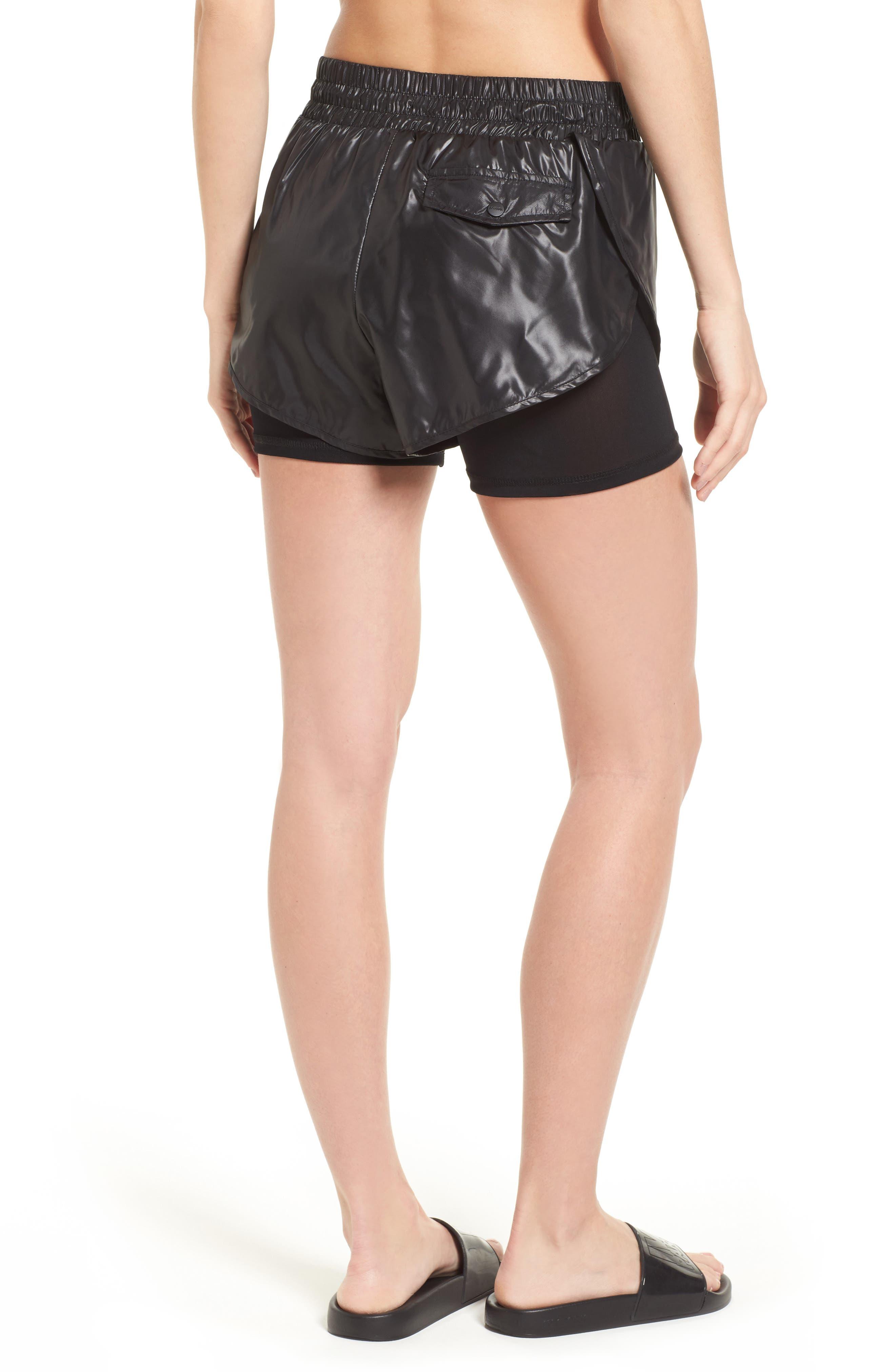 Hi Shine Double Layer Shorts,                             Alternate thumbnail 3, color,                             Black