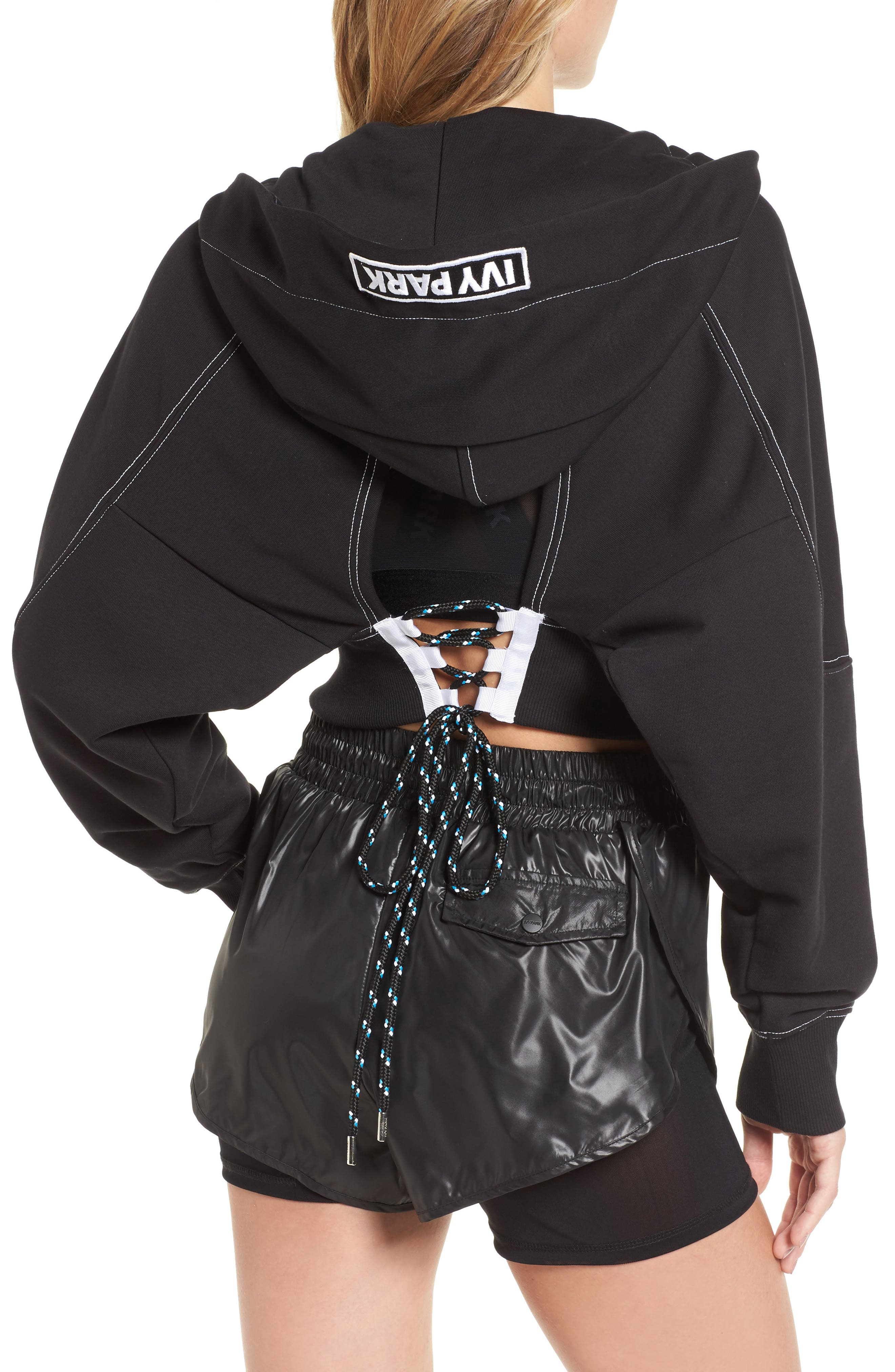 Lace-Up Back Zip Through Hoodie,                             Alternate thumbnail 3, color,                             Black
