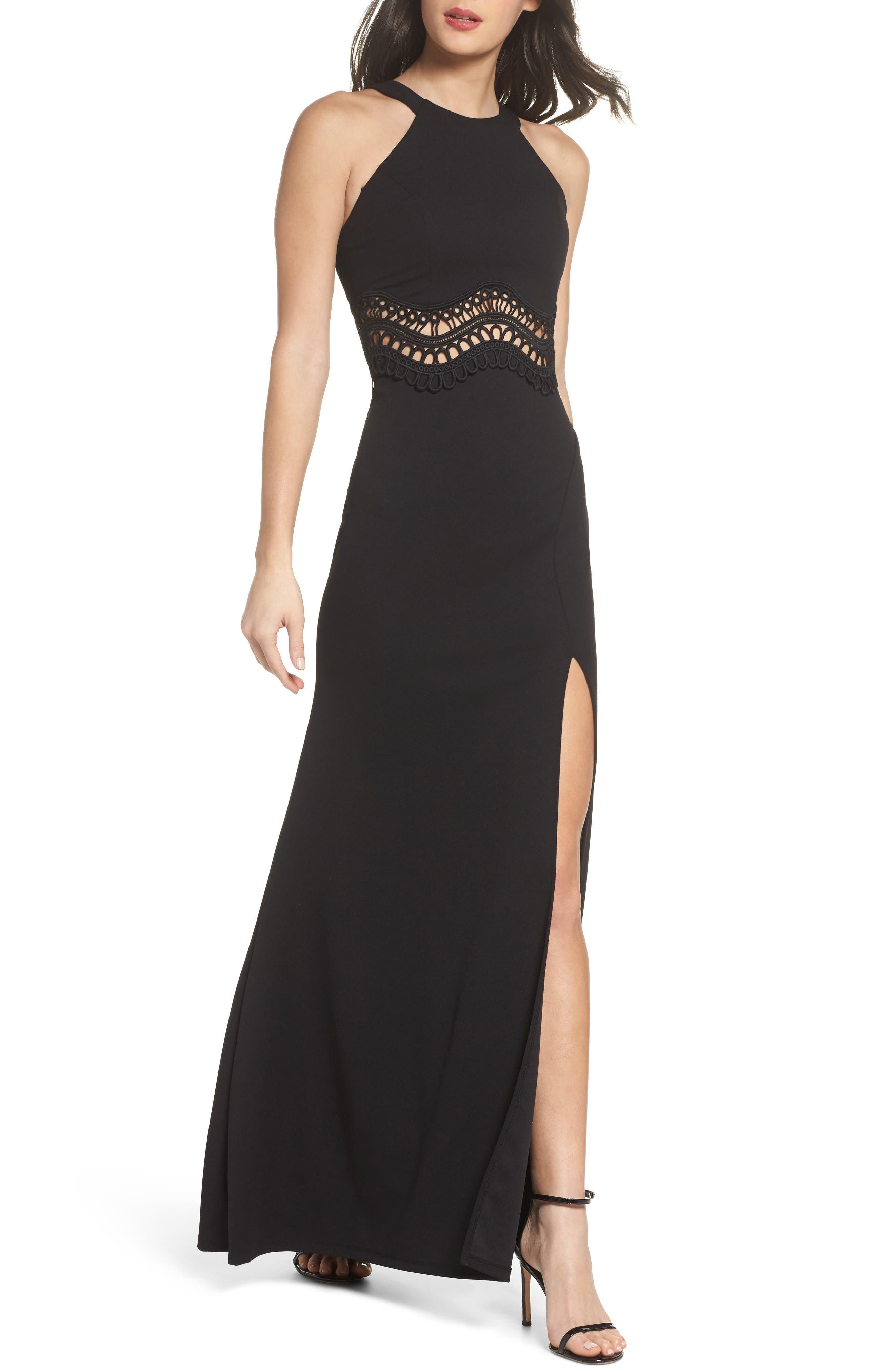 Soutache Waist Scuba Gown,                         Main,                         color, Black