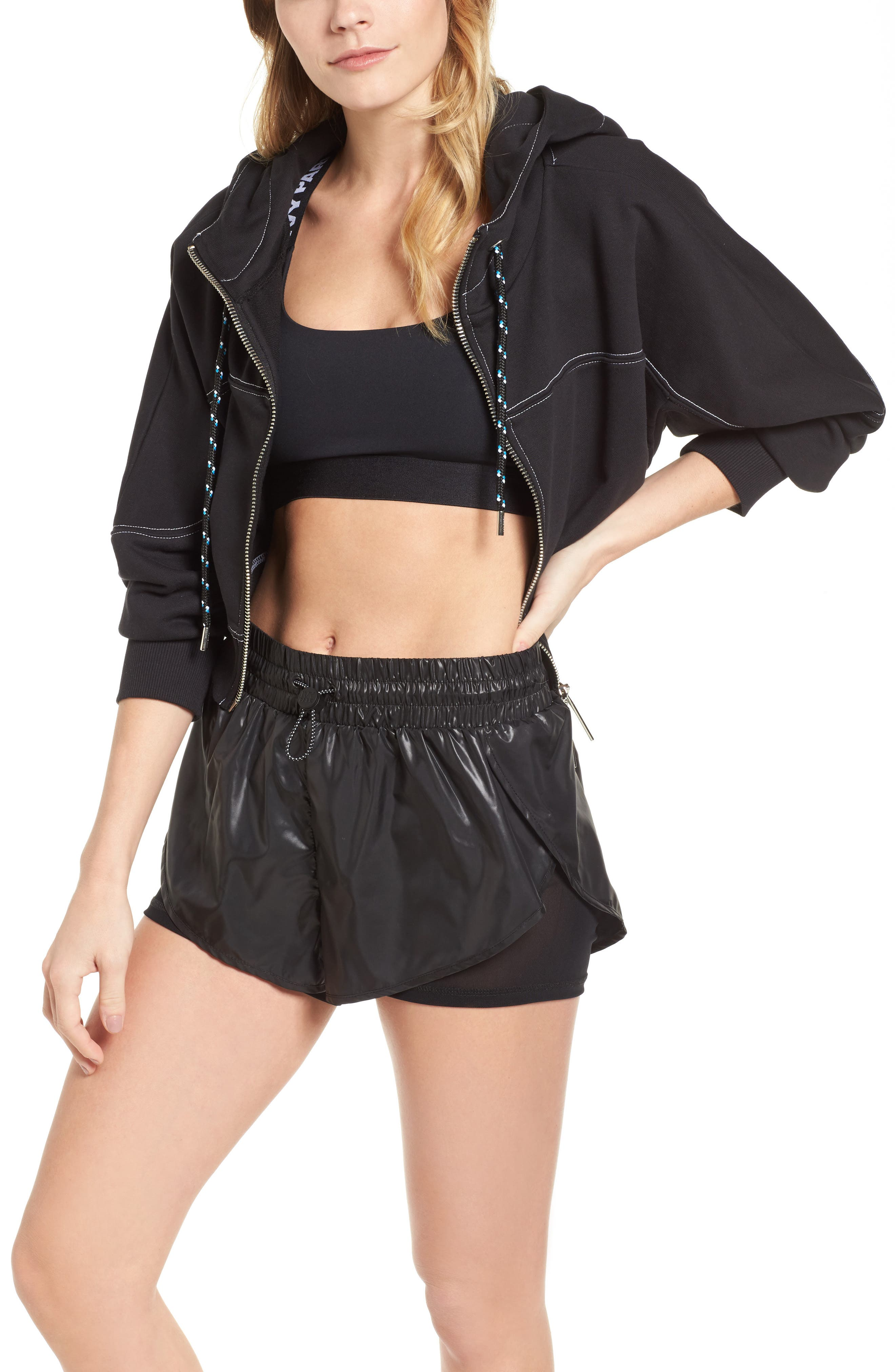 Lace-Up Back Zip Through Hoodie,                         Main,                         color, Black
