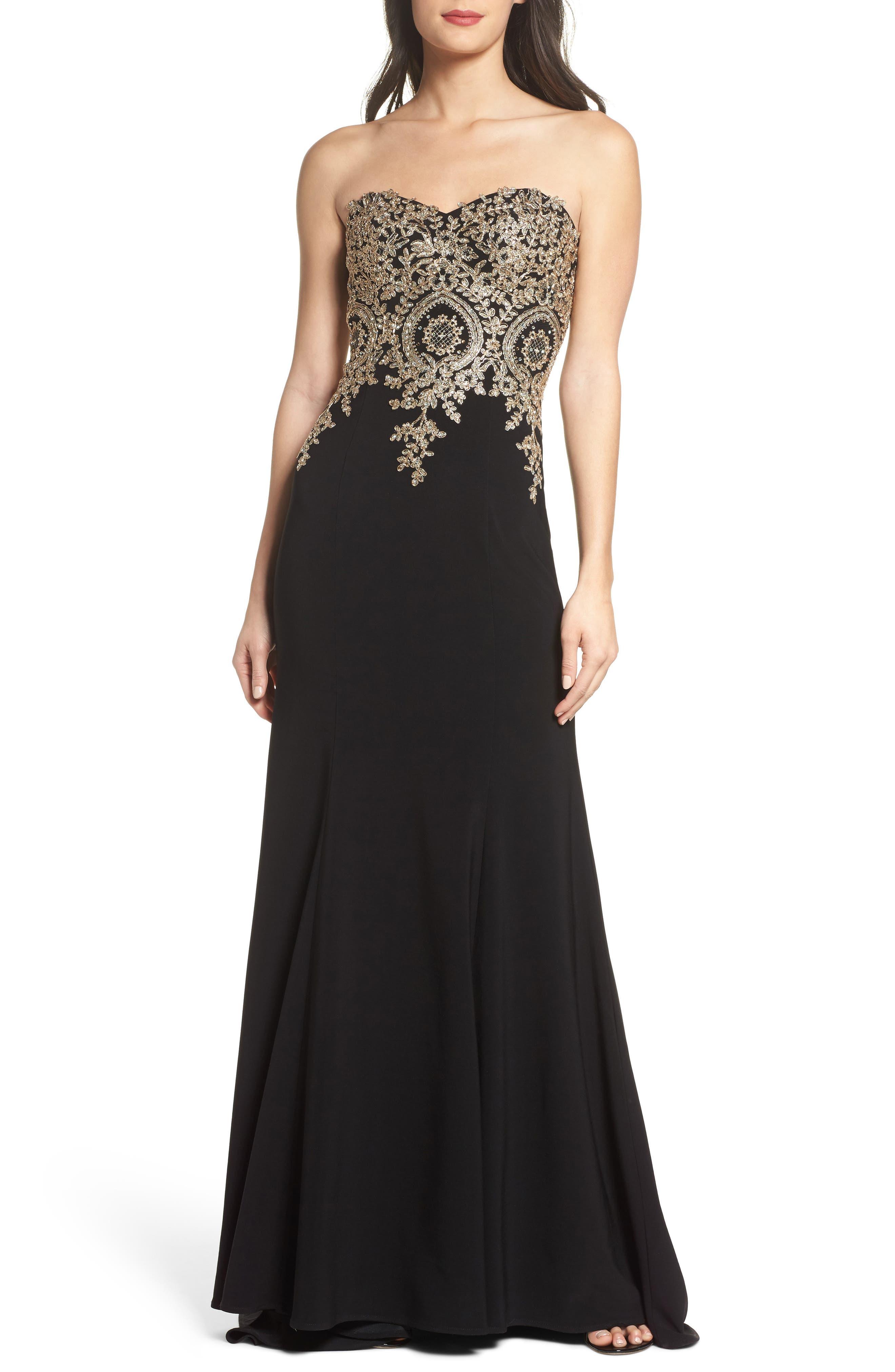 Corset Back Embellished Strapless Gown,                         Main,                         color, Black/ Gold