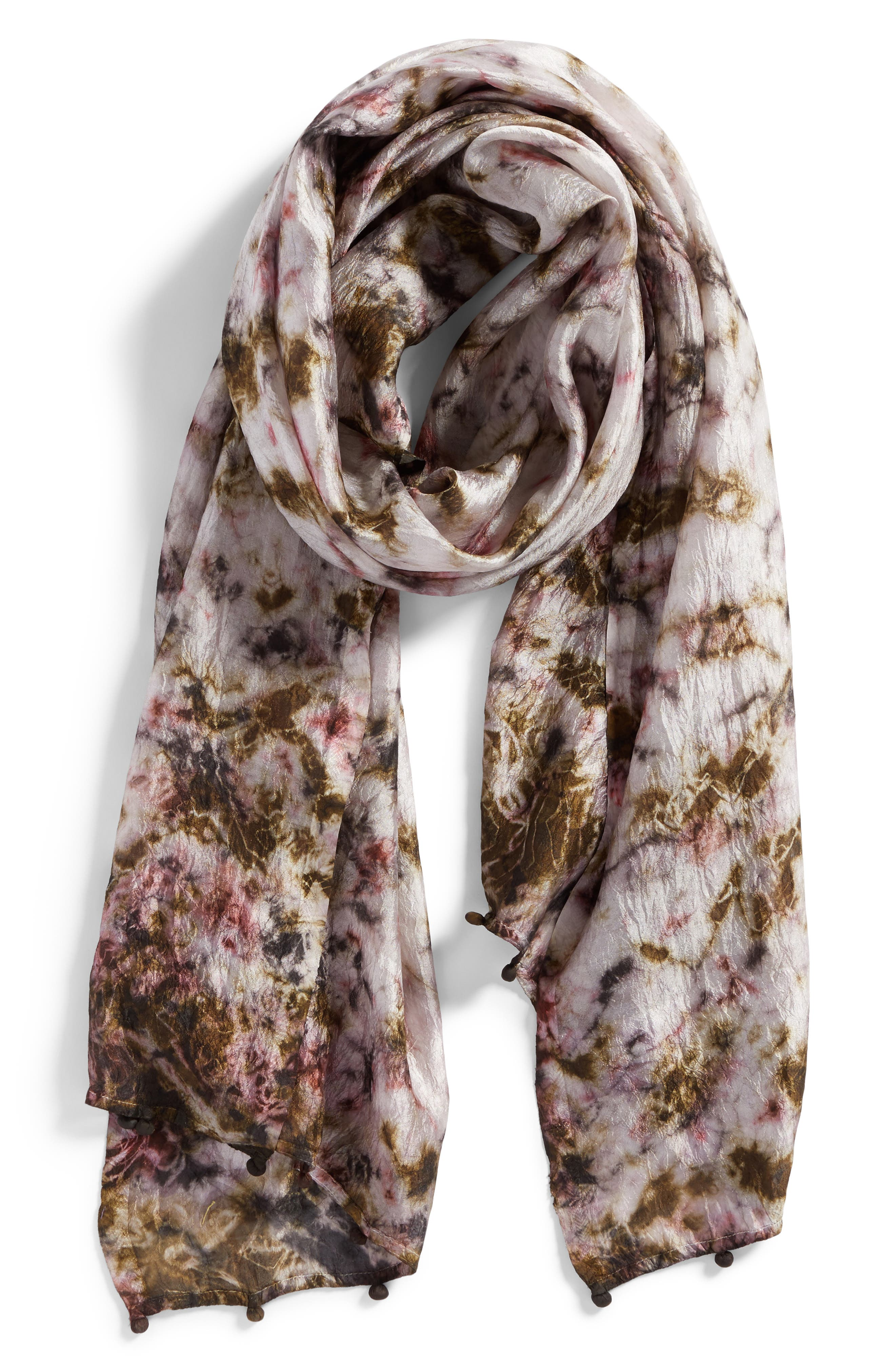 Print Silk Scarf,                             Alternate thumbnail 2, color,                             Rye