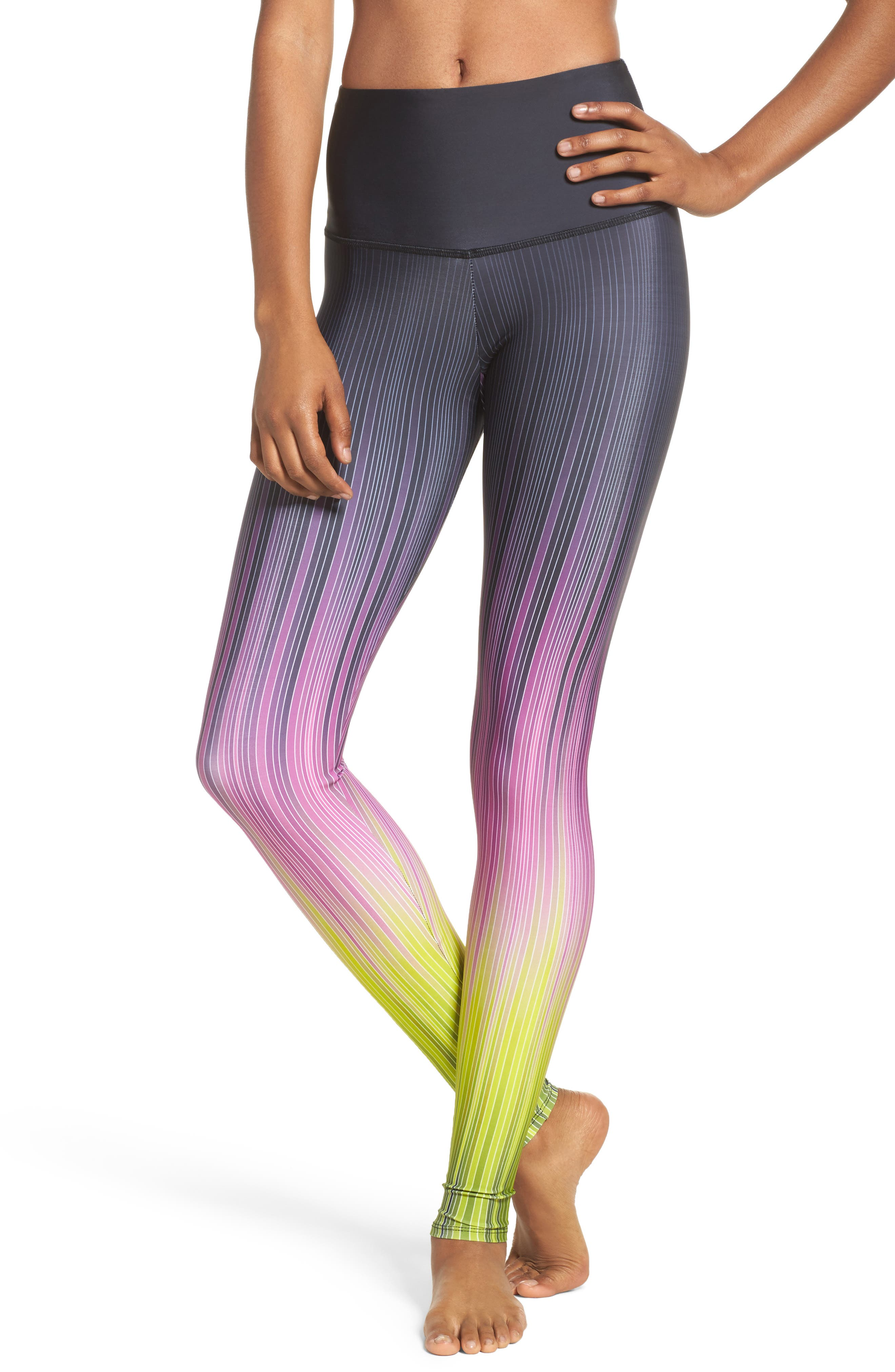Graphic High Rise Leggings,                             Main thumbnail 1, color,                             Pinstripes