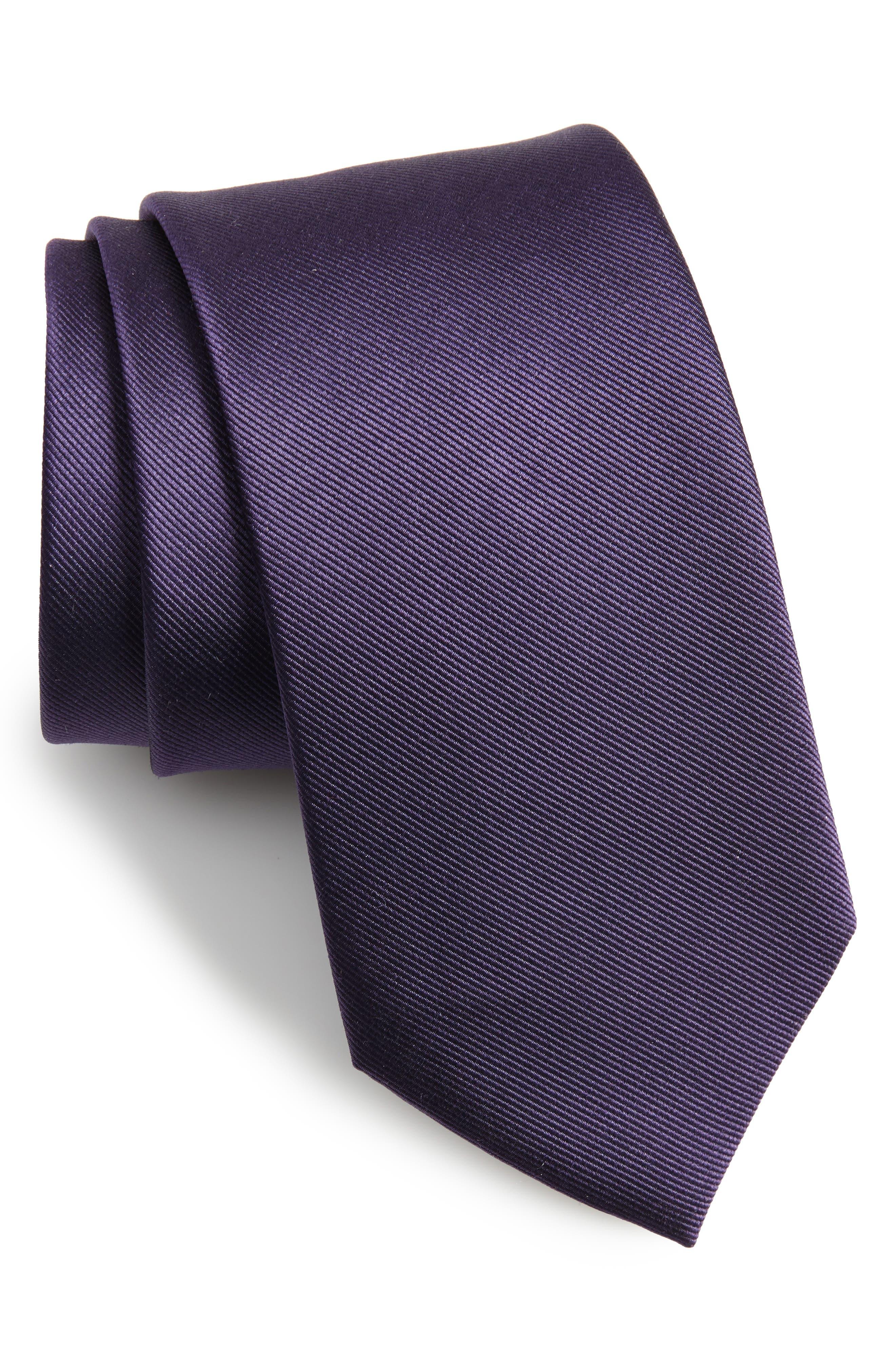 Solid Silk Tie,                         Main,                         color, Deep Eggplant