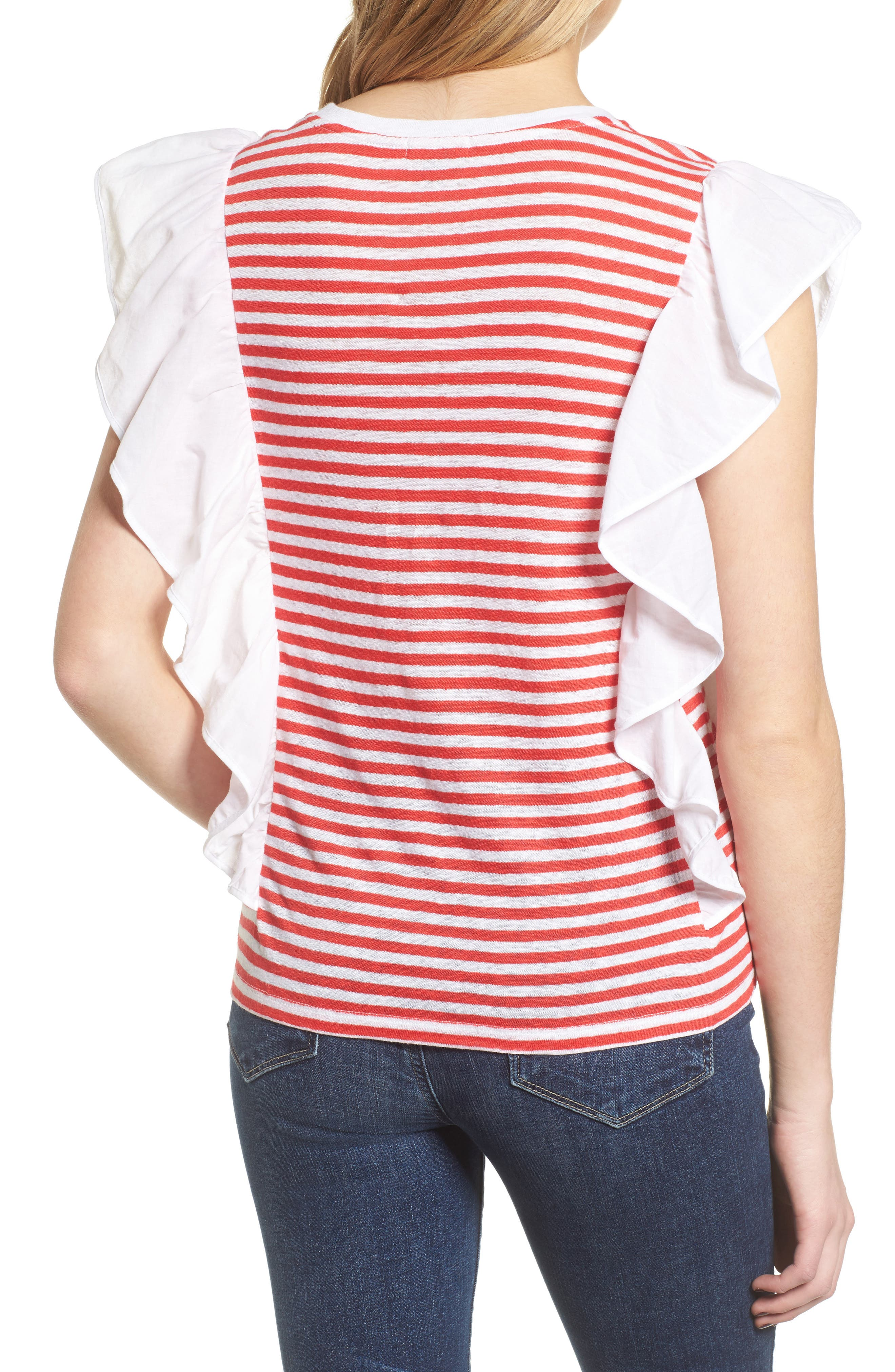 Ruffle Linen Tee,                             Alternate thumbnail 2, color,                             Red Hibiscus Stripe Combo