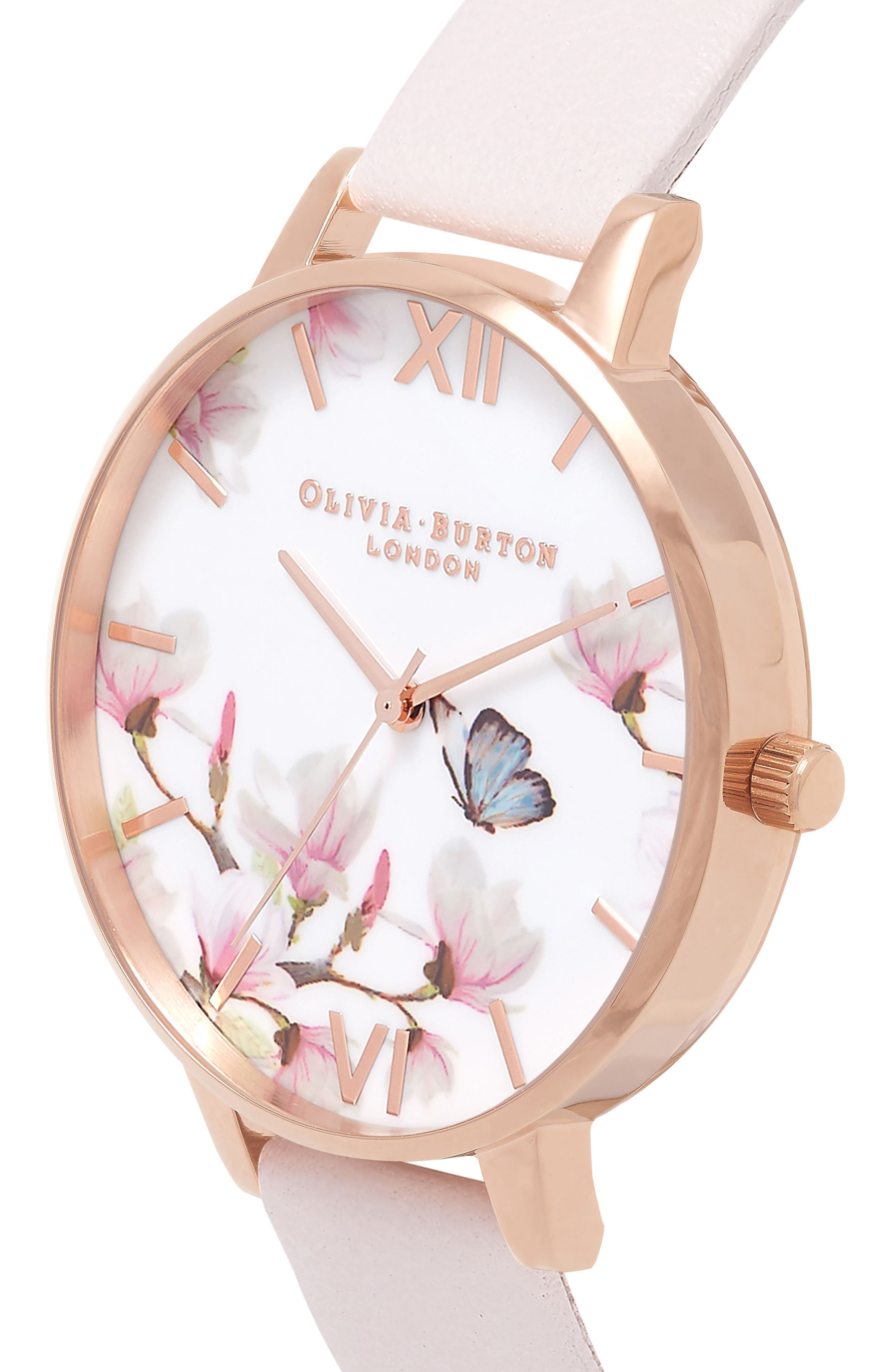 Pretty Blossom Leather Strap Watch, 38mm,                             Alternate thumbnail 3, color,                             Blossom/ White/ Rose Gold