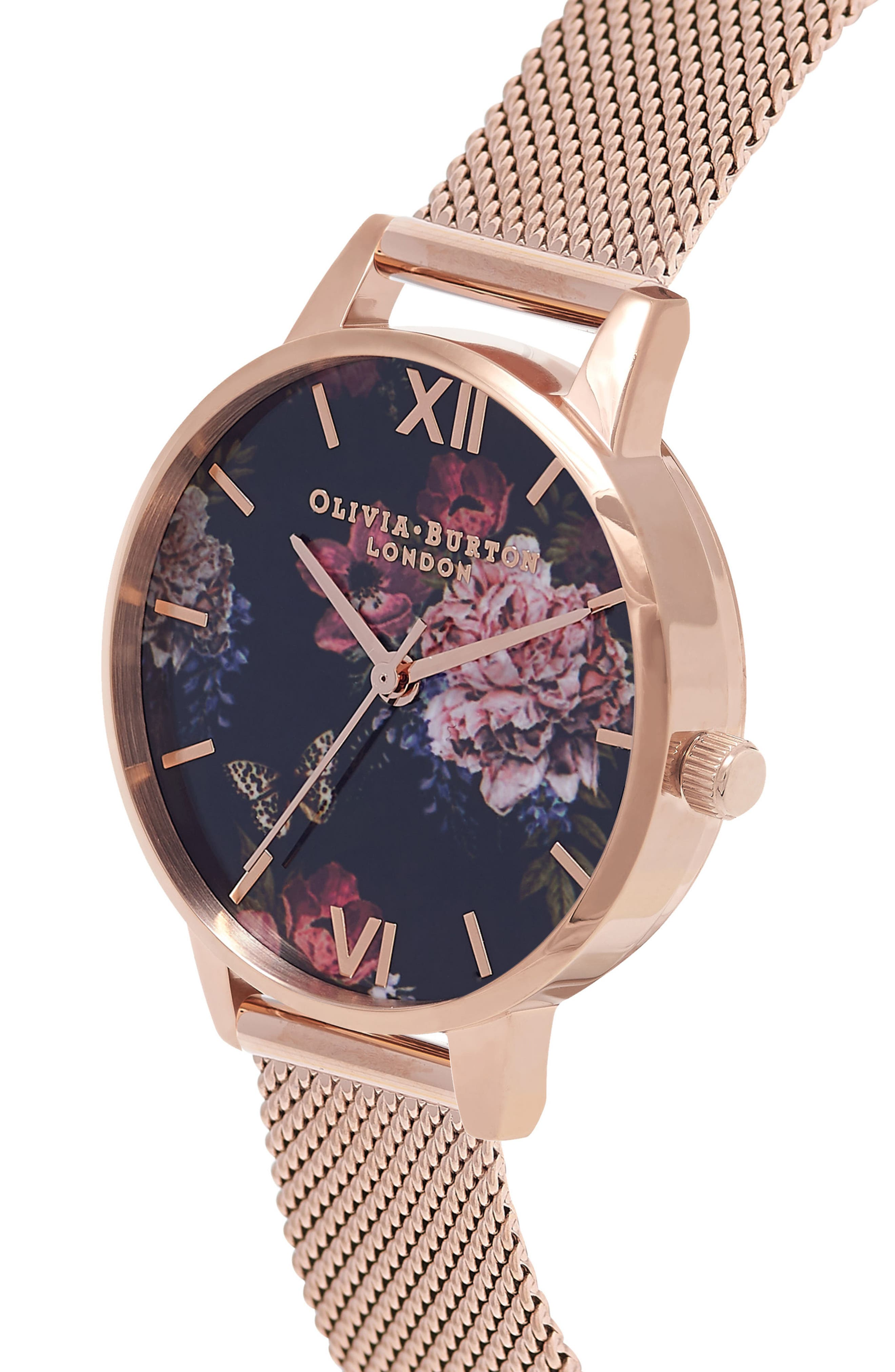 Dark Bouquet Mesh Strap Watch, 30mm,                             Alternate thumbnail 3, color,                             Rose Gold/ Black/ Rose Gold