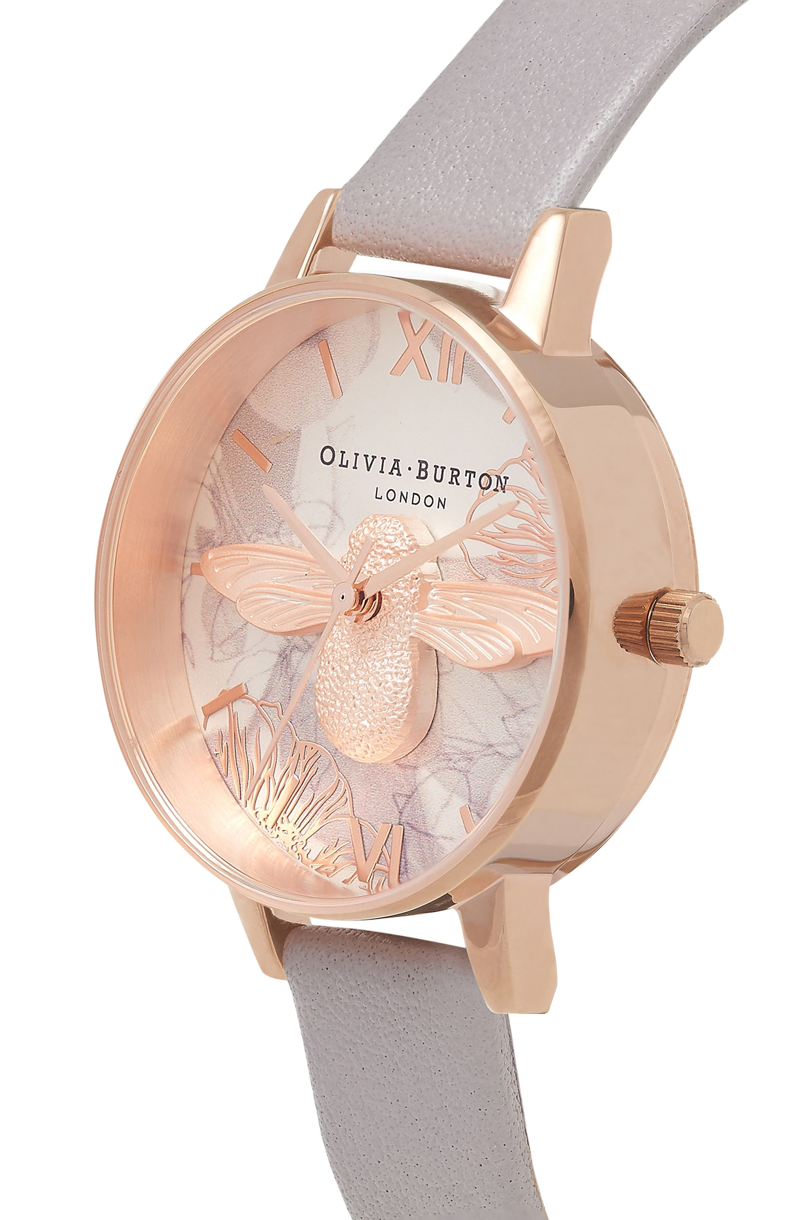 Abstract Florals Leather Strap Watch, 30mm,                             Alternate thumbnail 3, color,                             Grey Lilac/ White/ Rose Gold