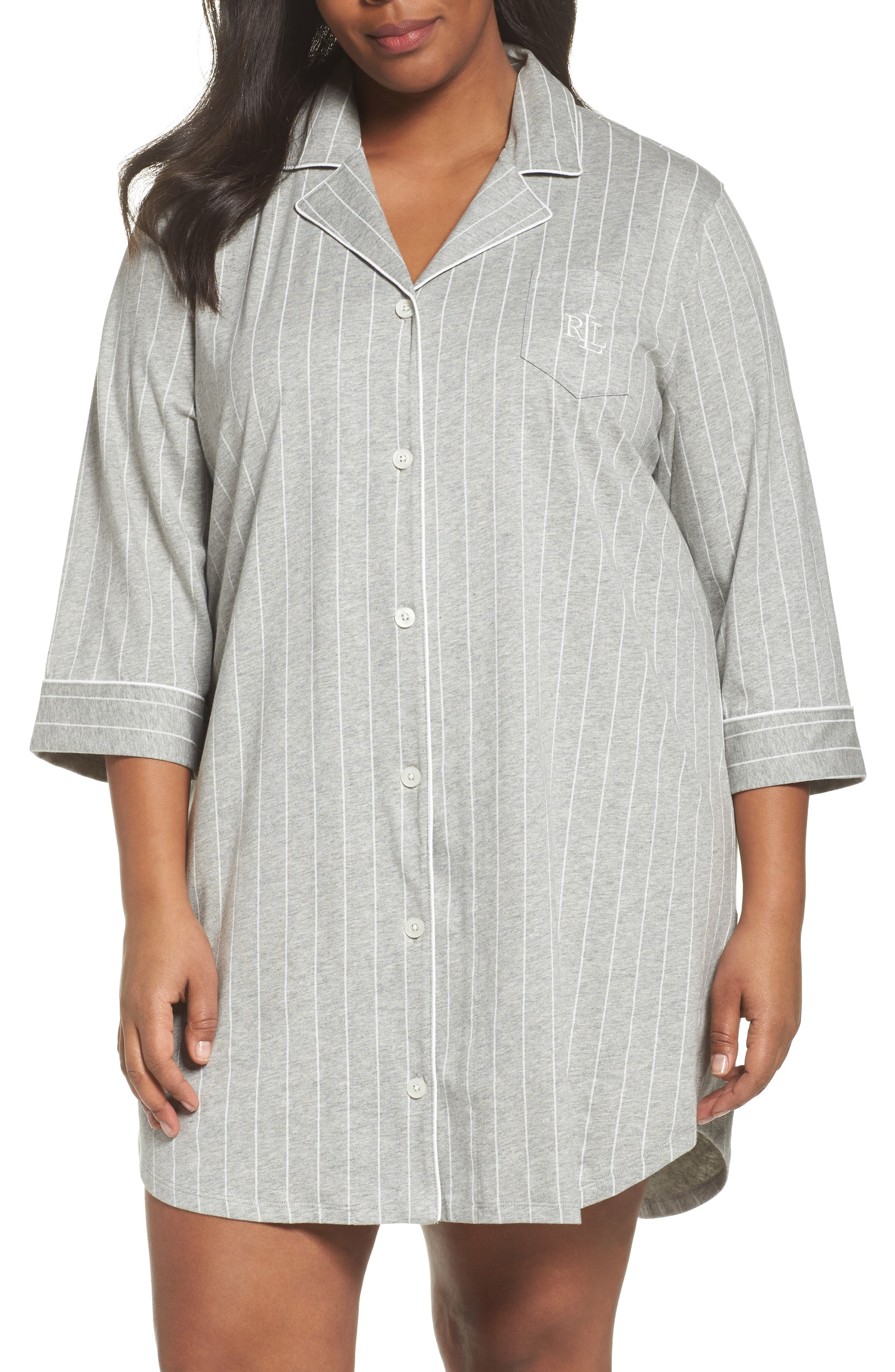 Knit Jersey Sleep Shirt,                             Main thumbnail 1, color,                             Greystone