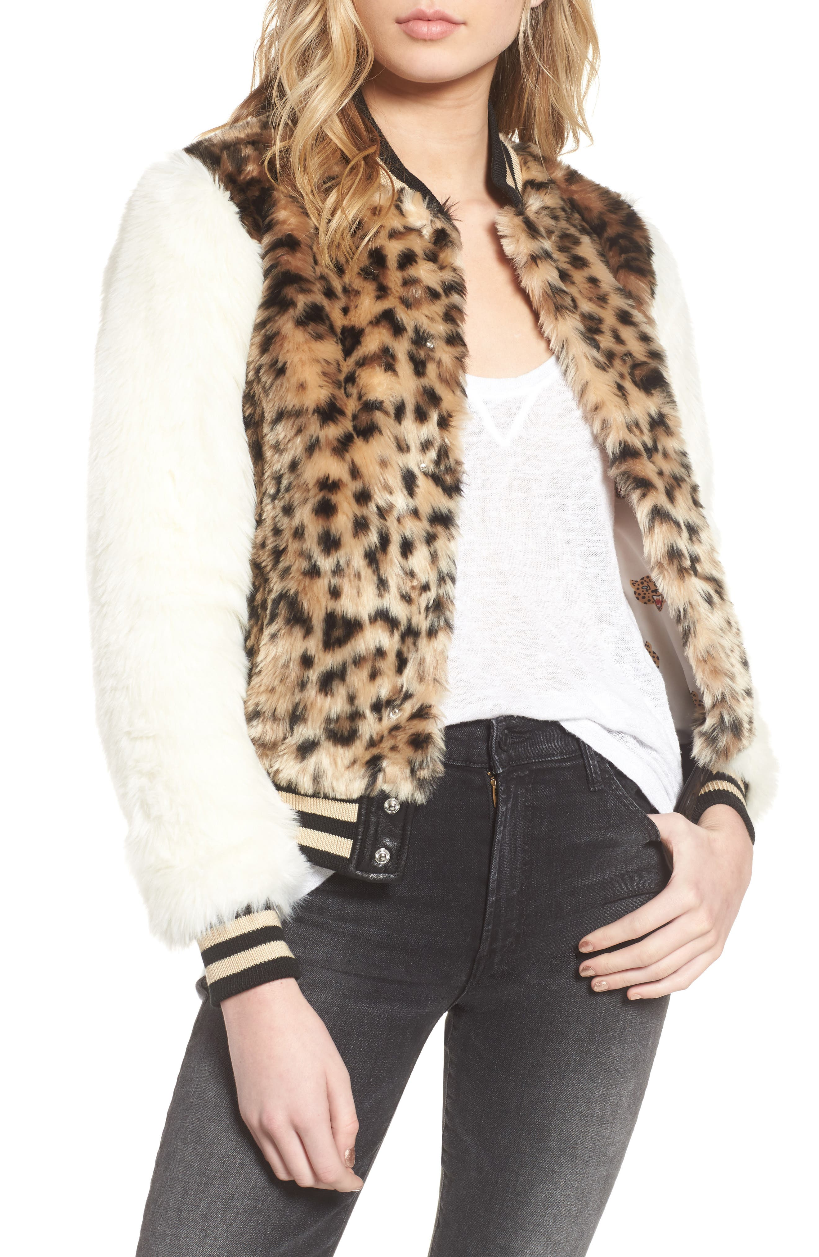 MOTHER The Baseball Faux Fur Jacket
