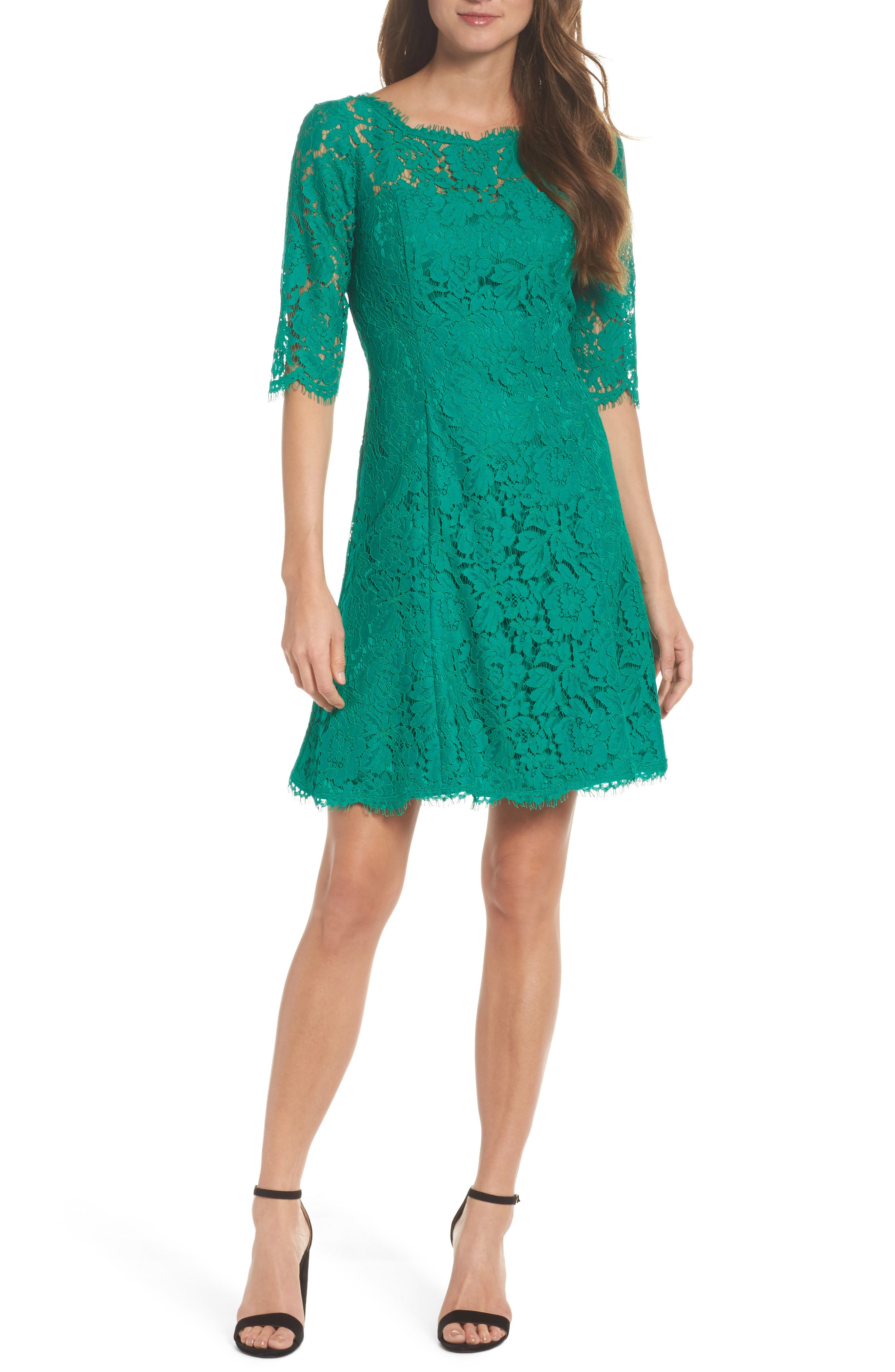 Lace Fit & Flare Dress,                             Main thumbnail 1, color,                             Green