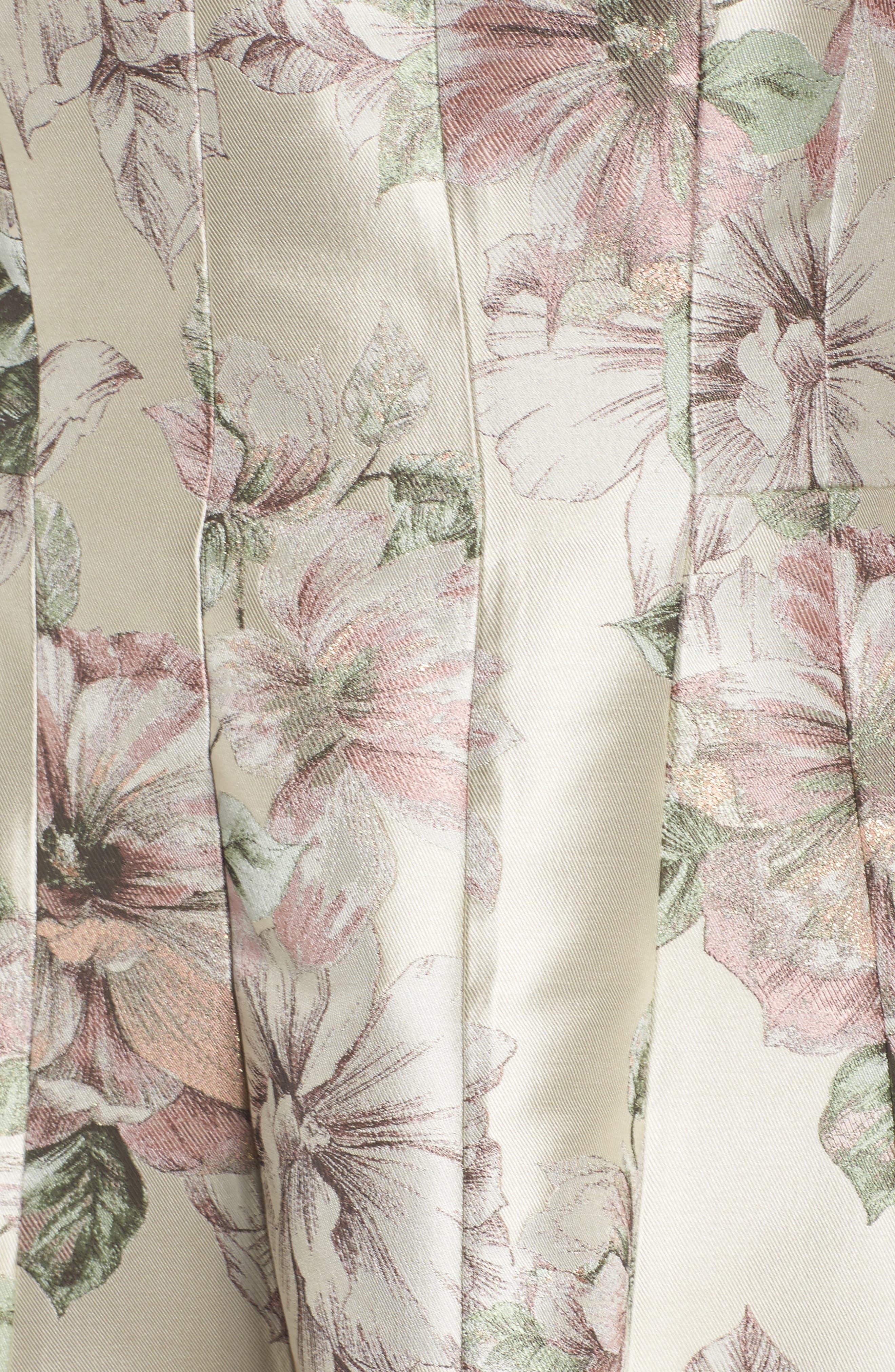 Floral Jacquard Off the Shoulder Ballgown,                             Alternate thumbnail 5, color,                             Blush