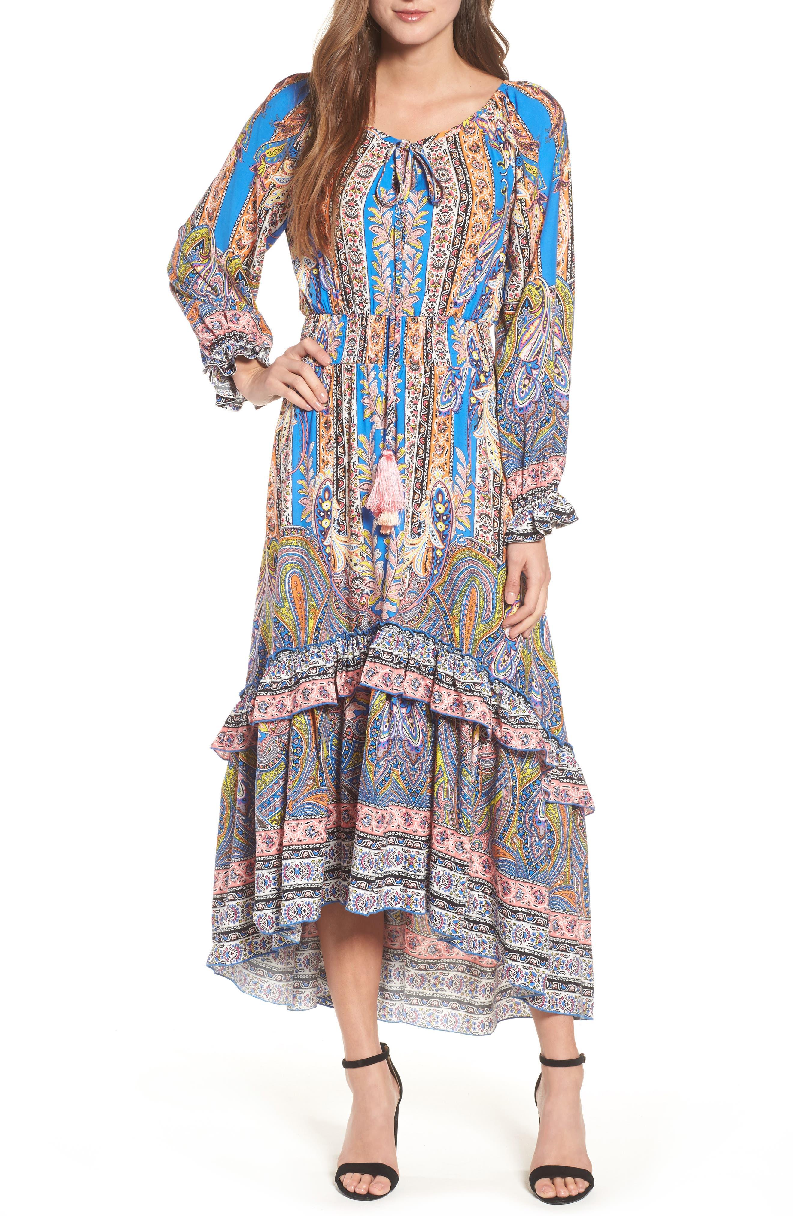 Ronda Paisley Print Maxi Dress,                             Main thumbnail 1, color,                             Pasiley Print
