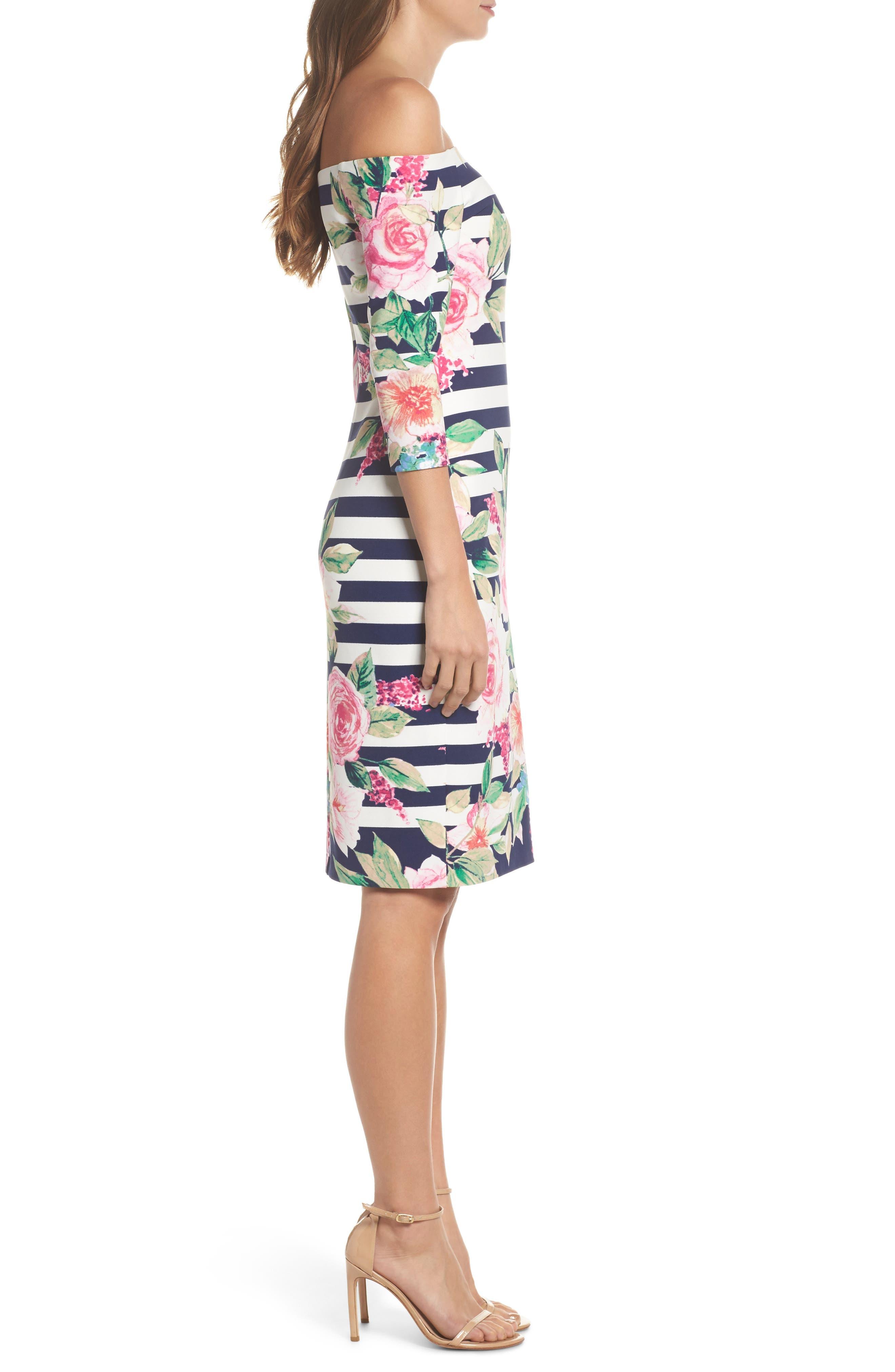 Stripe Off the Shoulder Dress,                             Alternate thumbnail 3, color,                             Navy