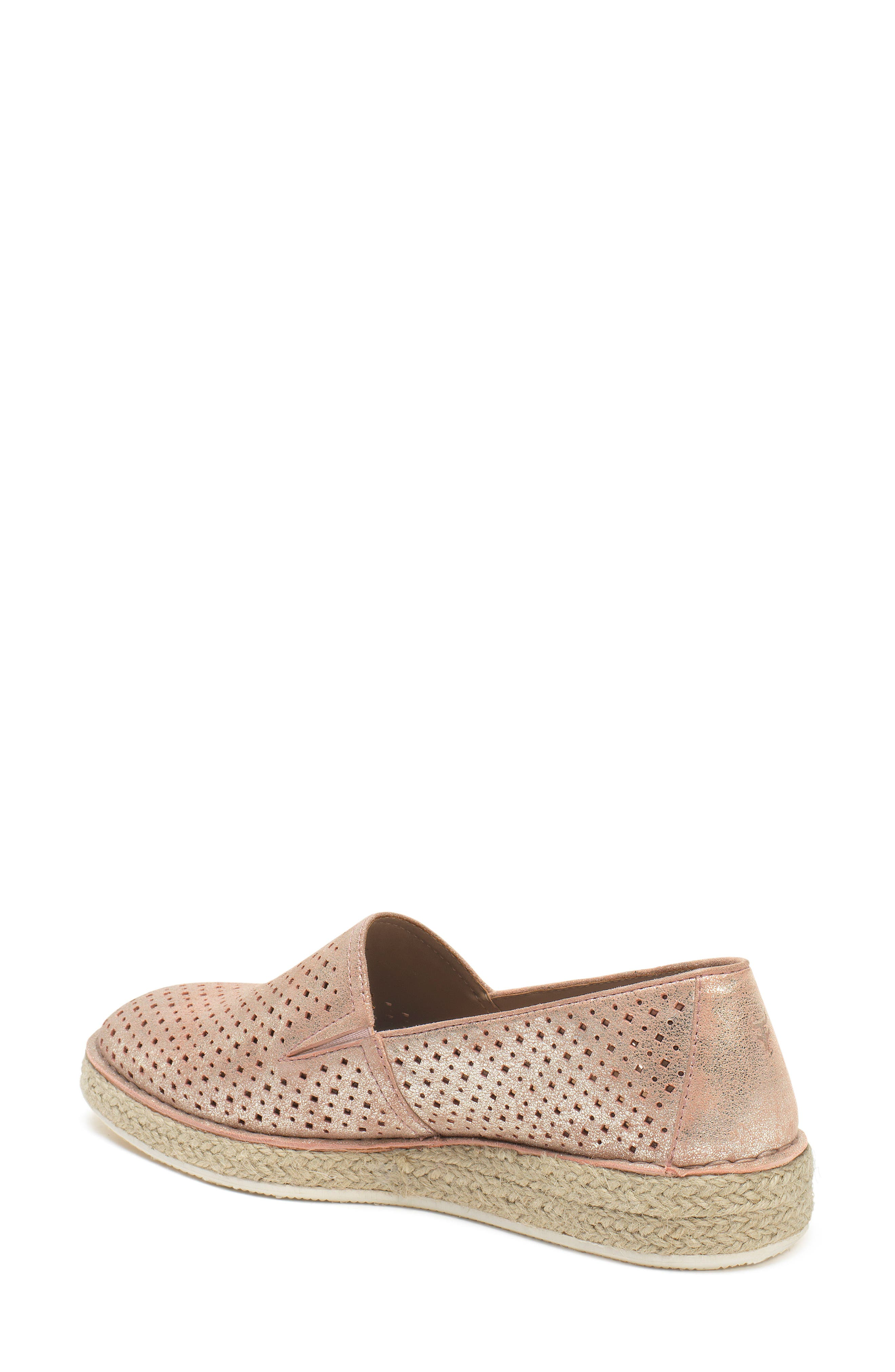 Paige Perforated Flat,                             Alternate thumbnail 2, color,                             Blush Metallic Suede