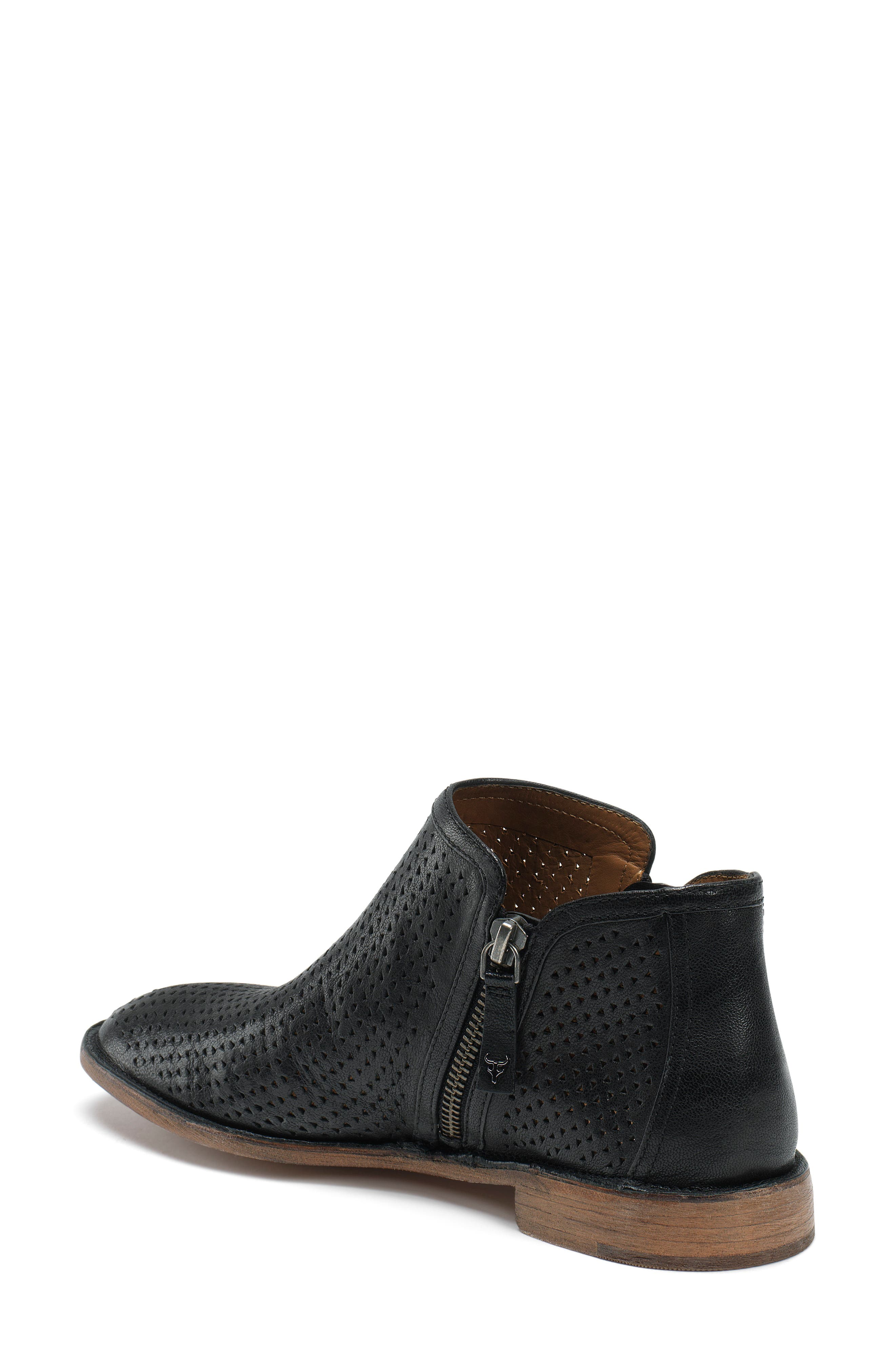 Addison Low Perforated Bootie,                             Alternate thumbnail 2, color,                             Black Leather