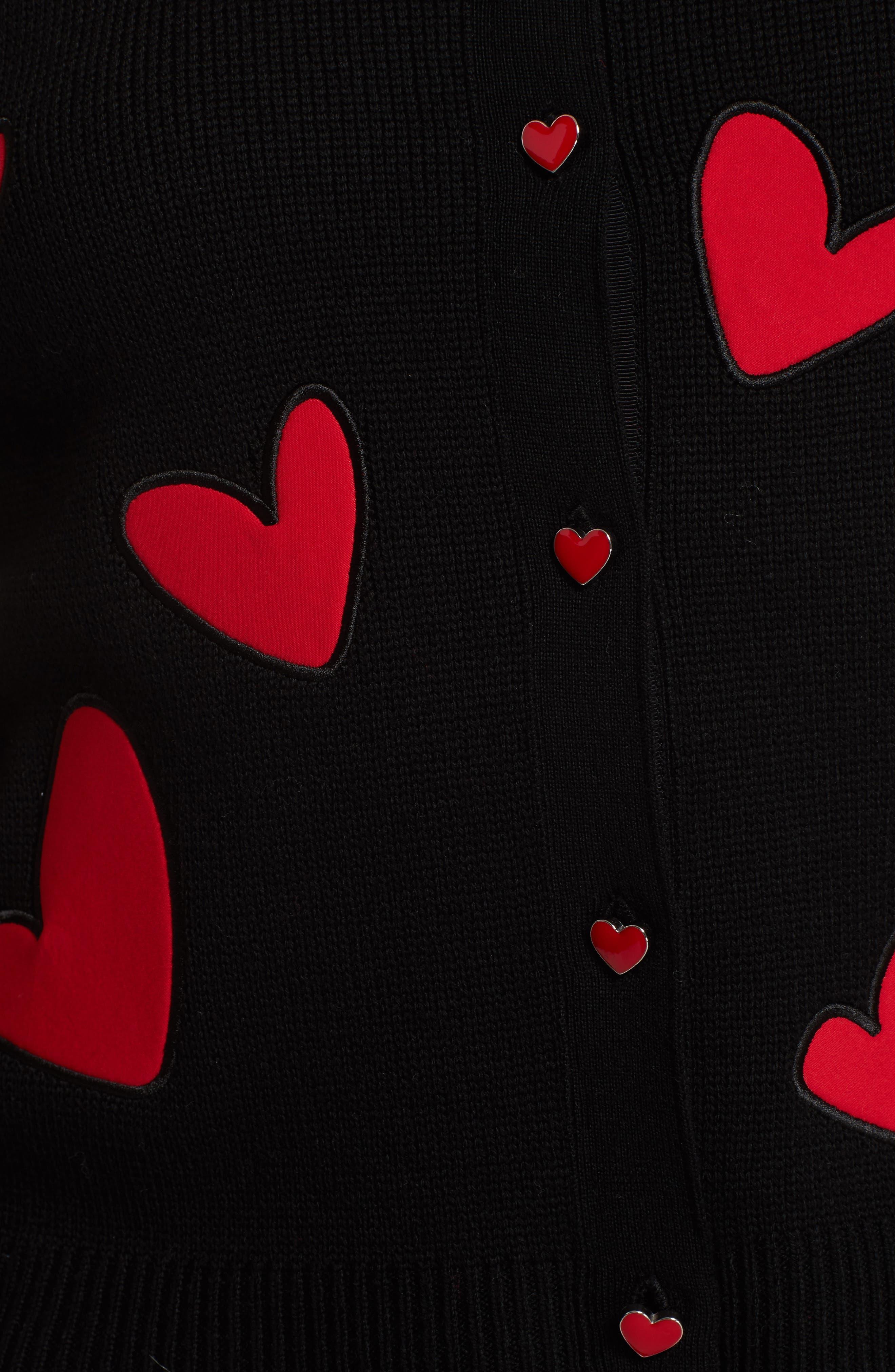 Ruthy Heart Appliqué Cardigan,                             Alternate thumbnail 5, color,                             Black/ Apple