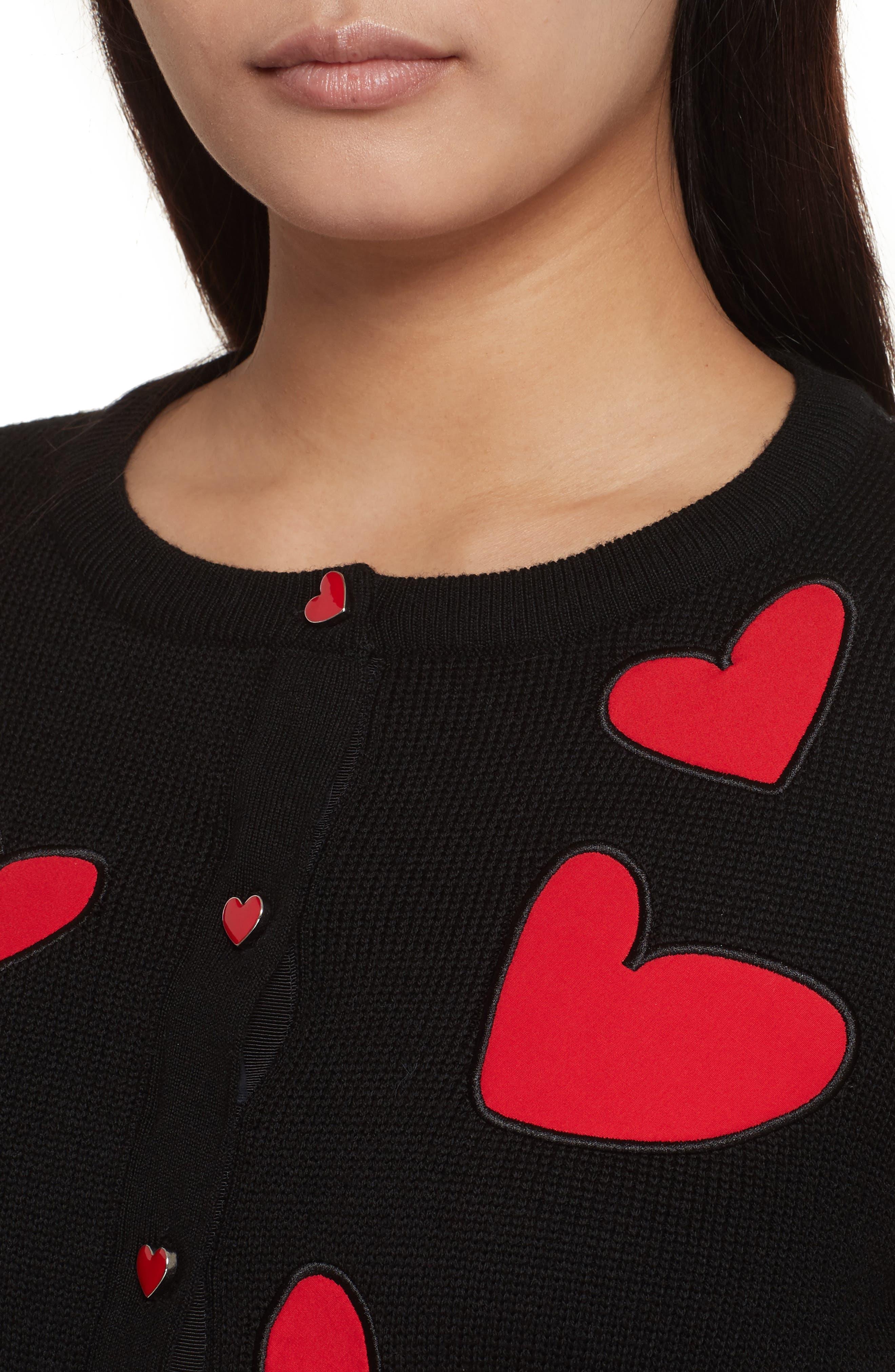 Ruthy Heart Appliqué Cardigan,                             Alternate thumbnail 4, color,                             Black/ Apple