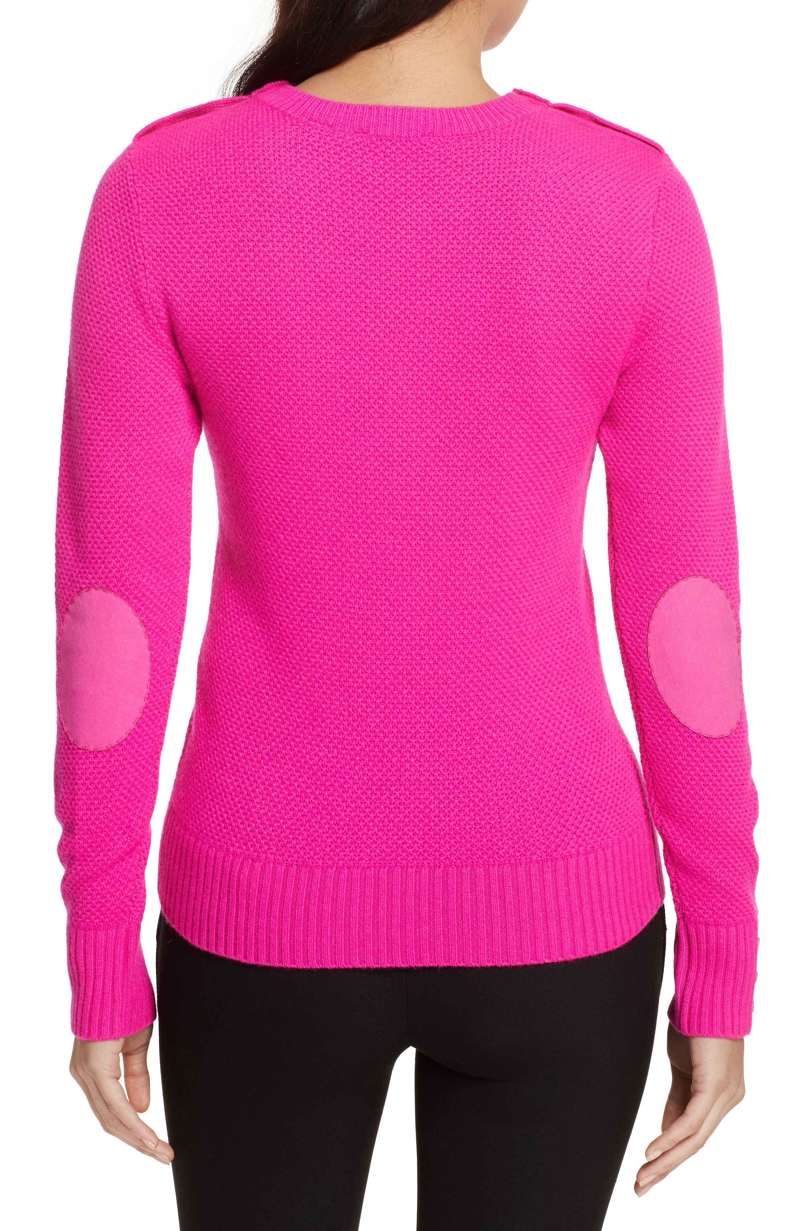Textured Merino-Wool-Blend Sweater,                             Alternate thumbnail 2, color,                             Bright Pink