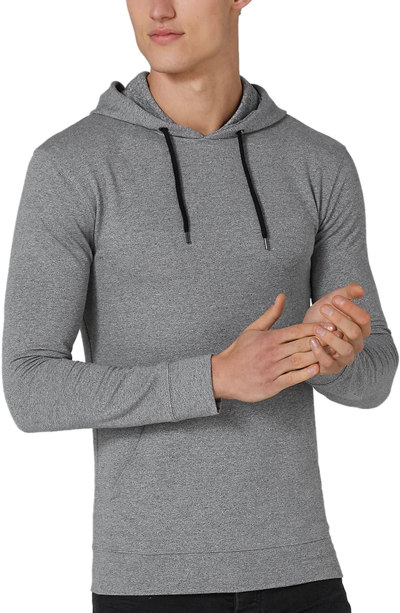 Muscle Fit Hoodie,                         Main,                         color, Grey