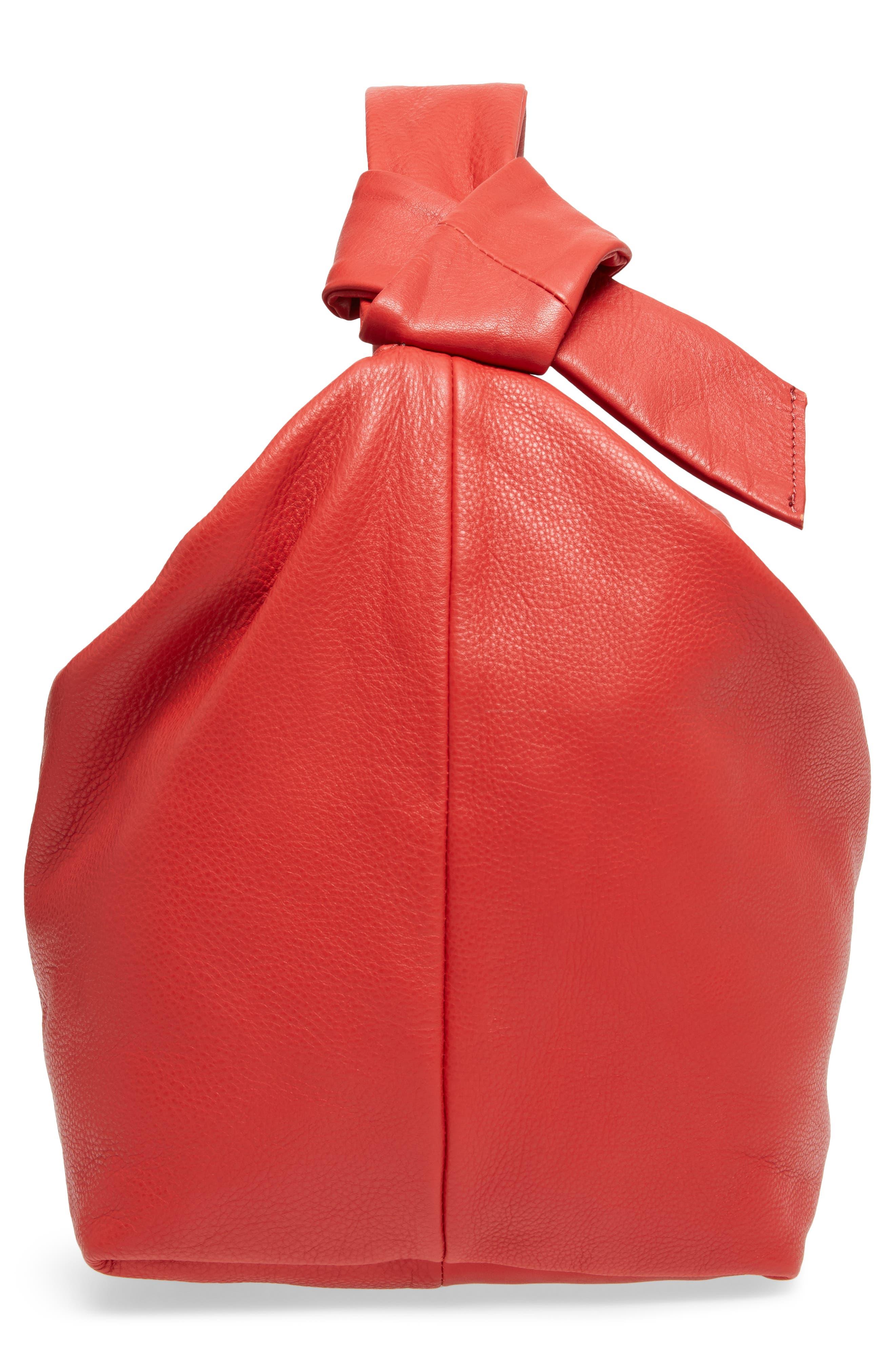 Premium Leather Jasmine Hobo Bag,                             Alternate thumbnail 4, color,                             Red