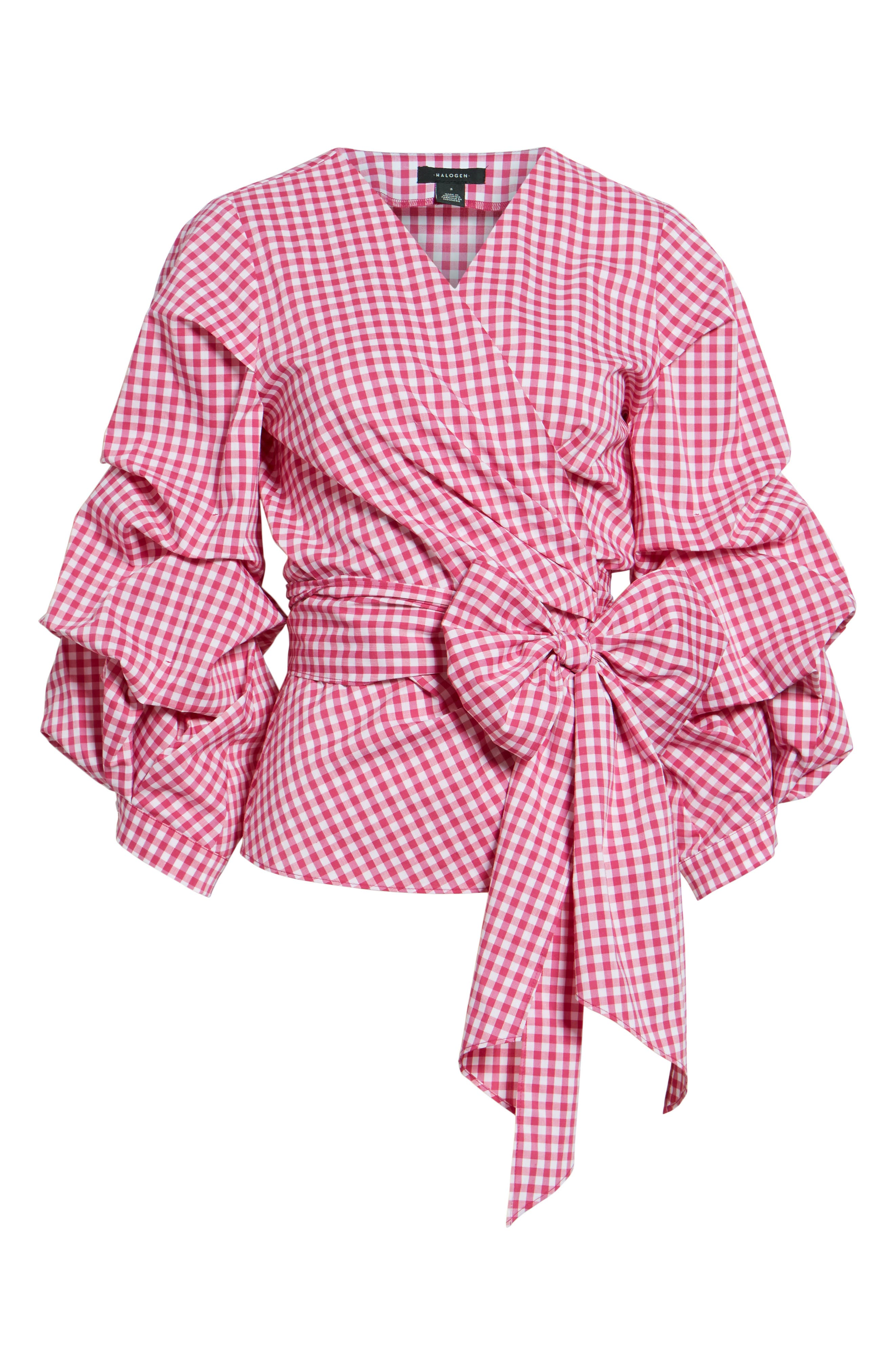 Pintuck Blouson Sleeve Wrap Top,                             Alternate thumbnail 6, color,                             Pink- White Gingham