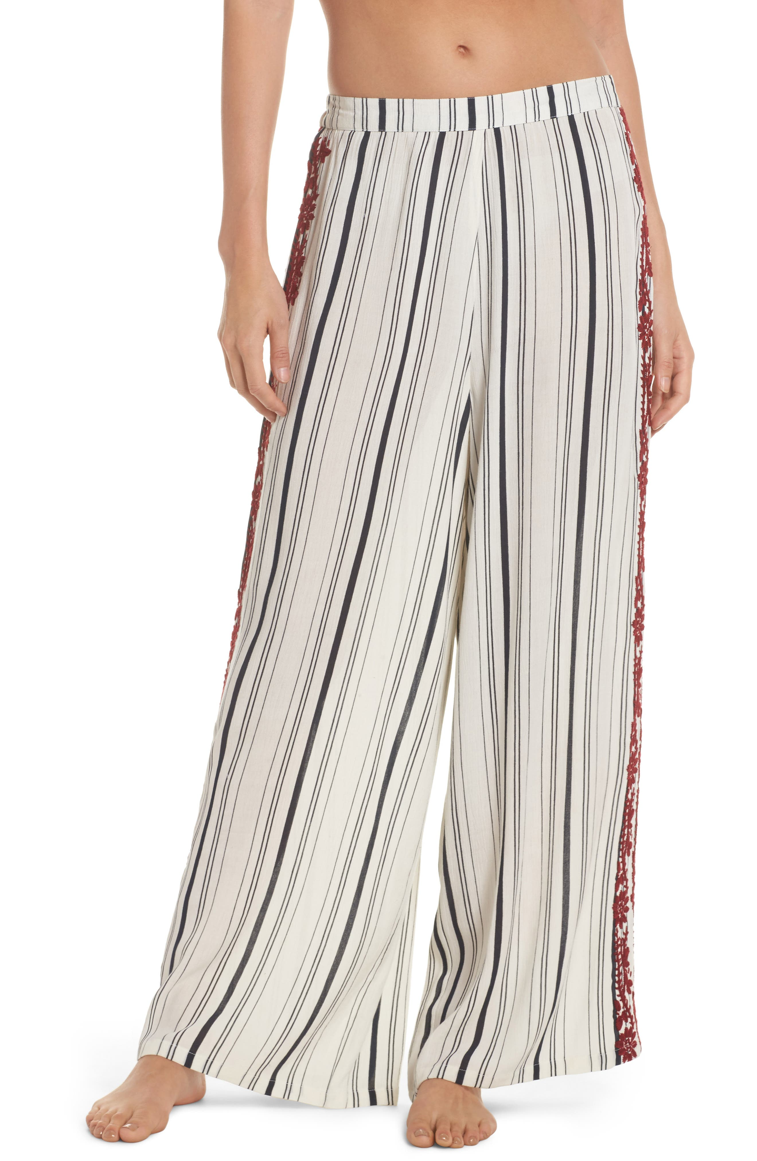 Arielle Stripe Cover-Up Pants,                         Main,                         color, White/ Navy