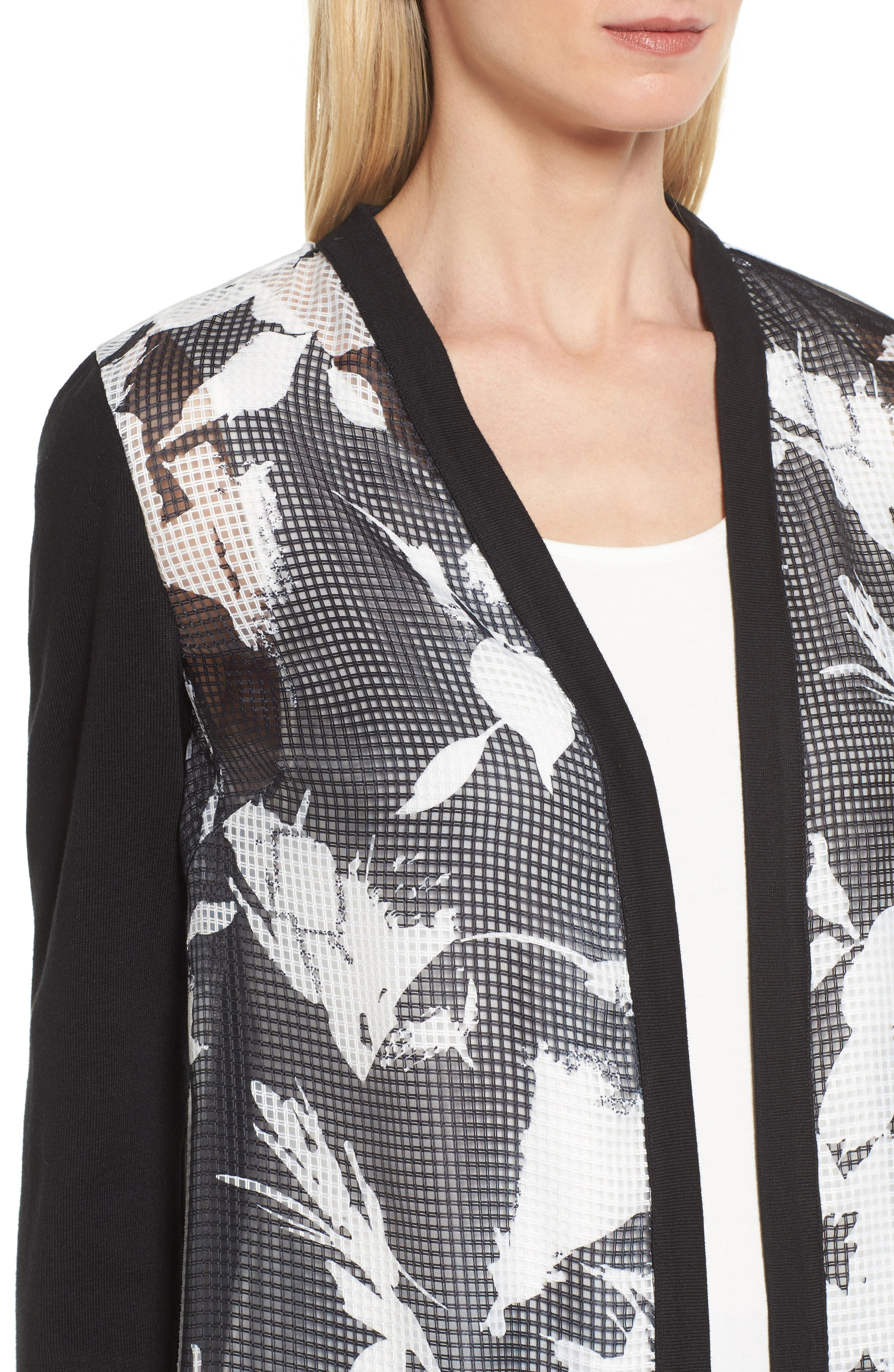 Alternate Image 4  - Ming Wang Open Front Floral Jacket