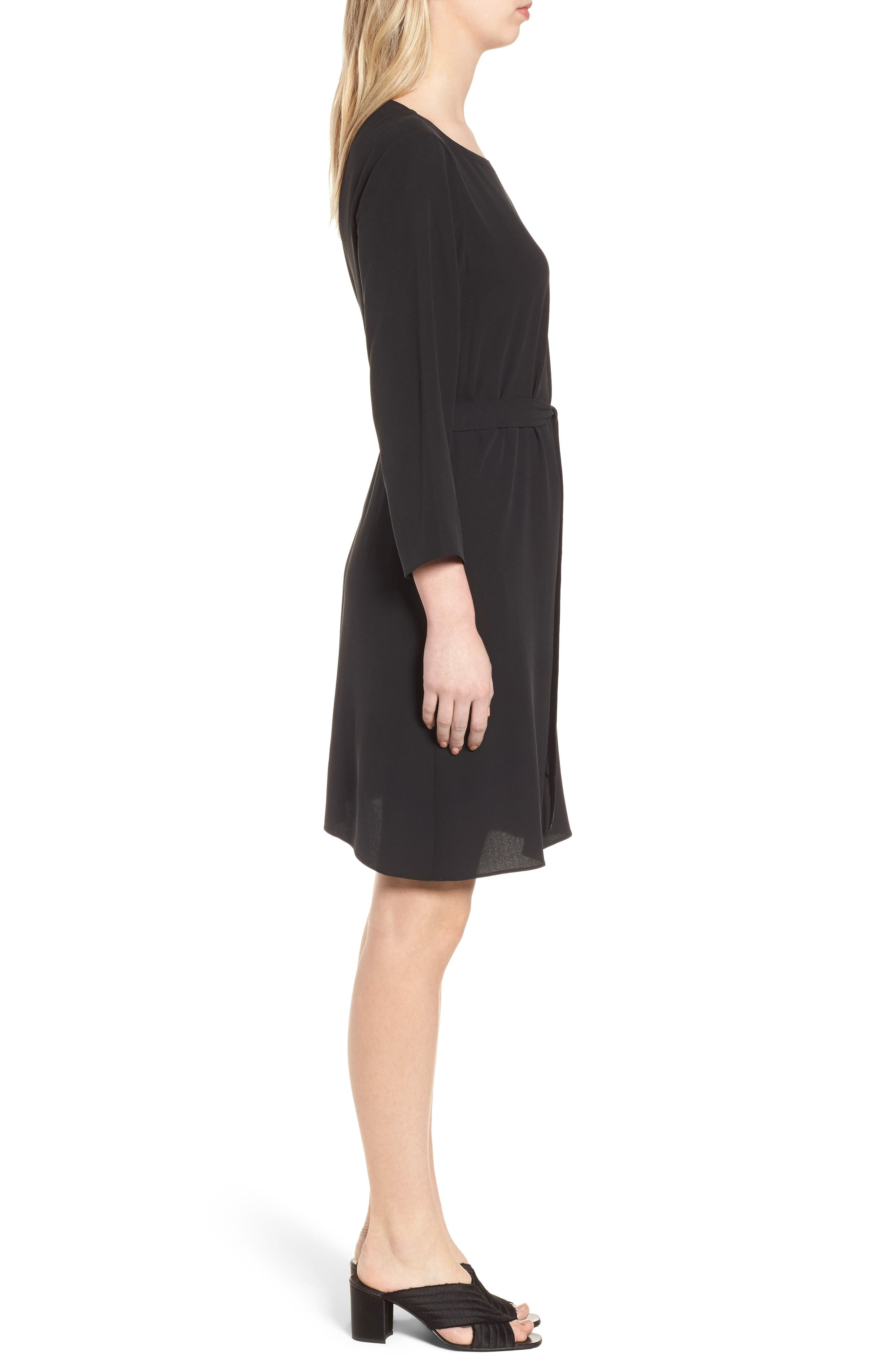 Bateau Neck Silk Dress,                             Alternate thumbnail 3, color,                             Black