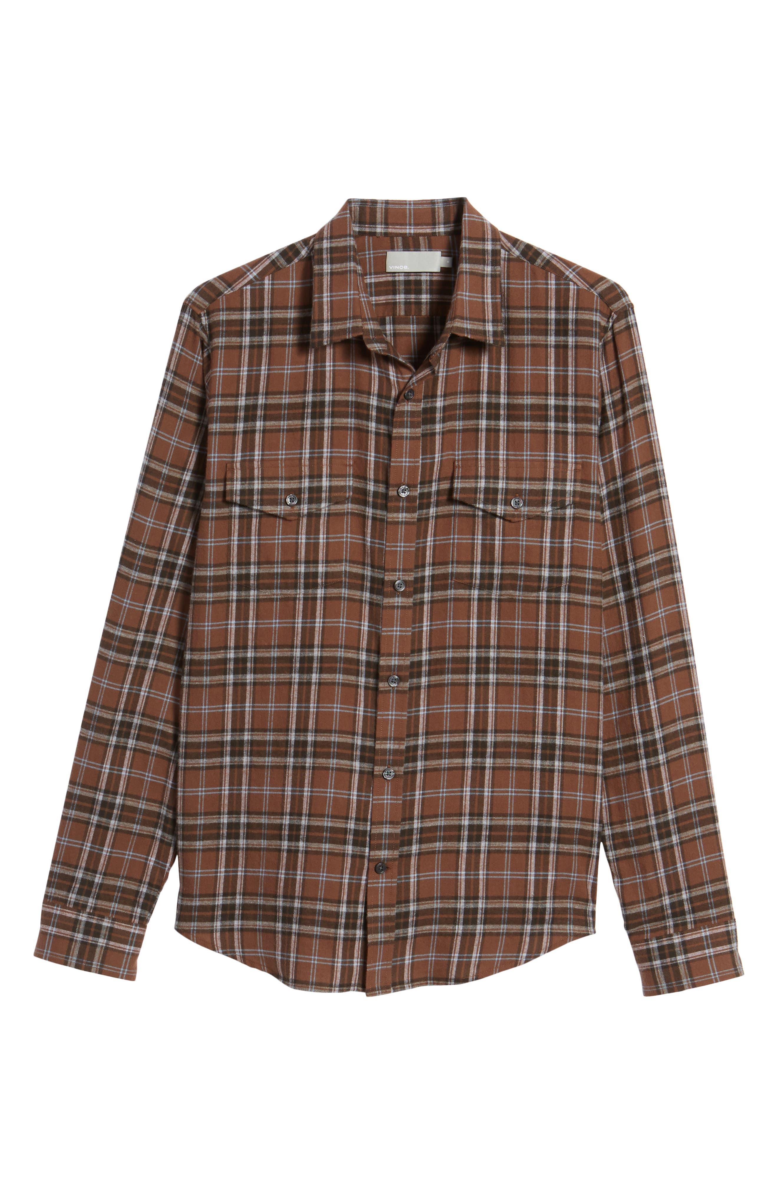 Regular Fit Plaid Sport Shirt,                             Alternate thumbnail 7, color,                             Dark Henna