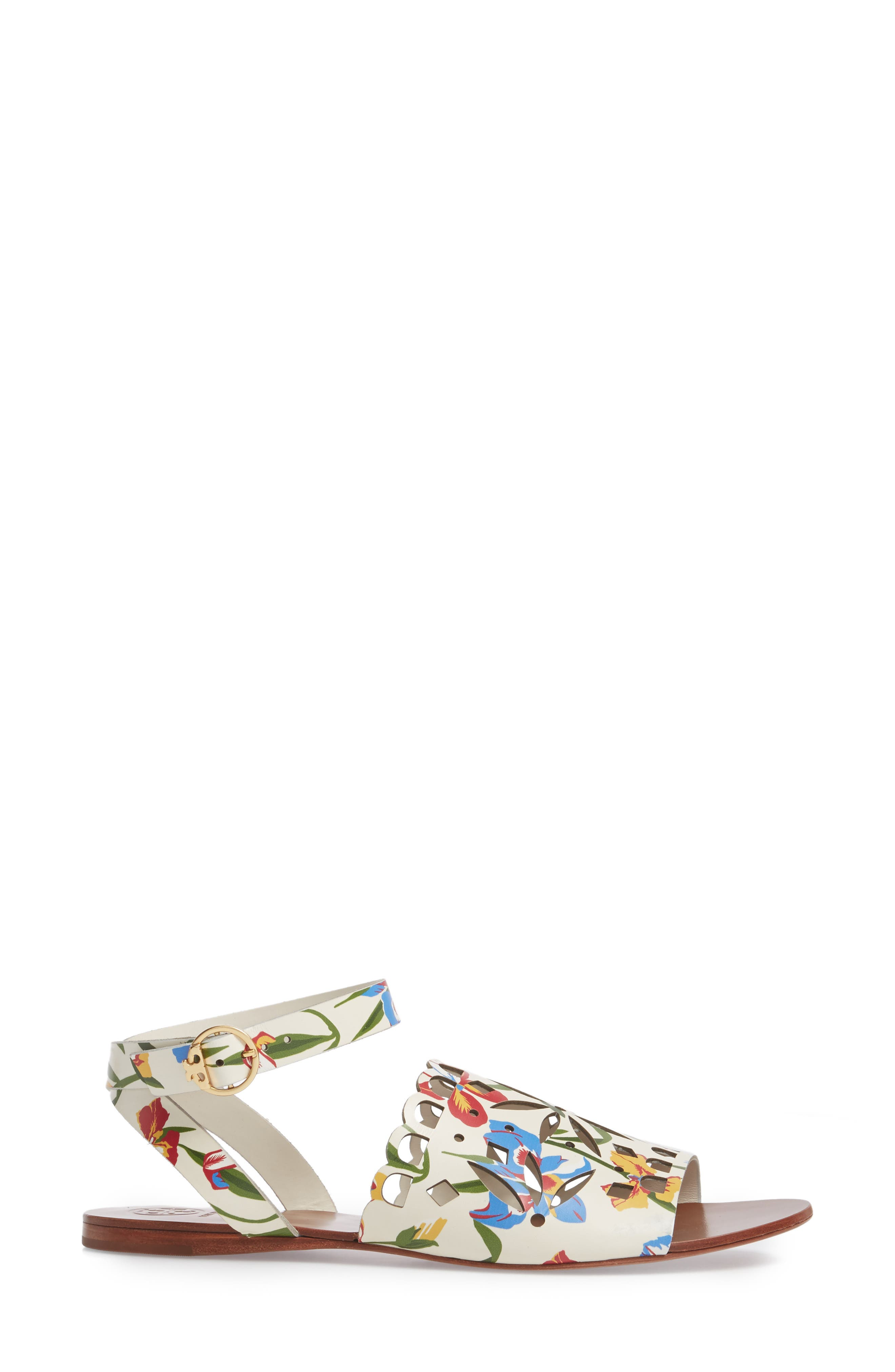 May Printed Floral Ankle Strap Sandal,                             Alternate thumbnail 3, color,                             Painted Iris