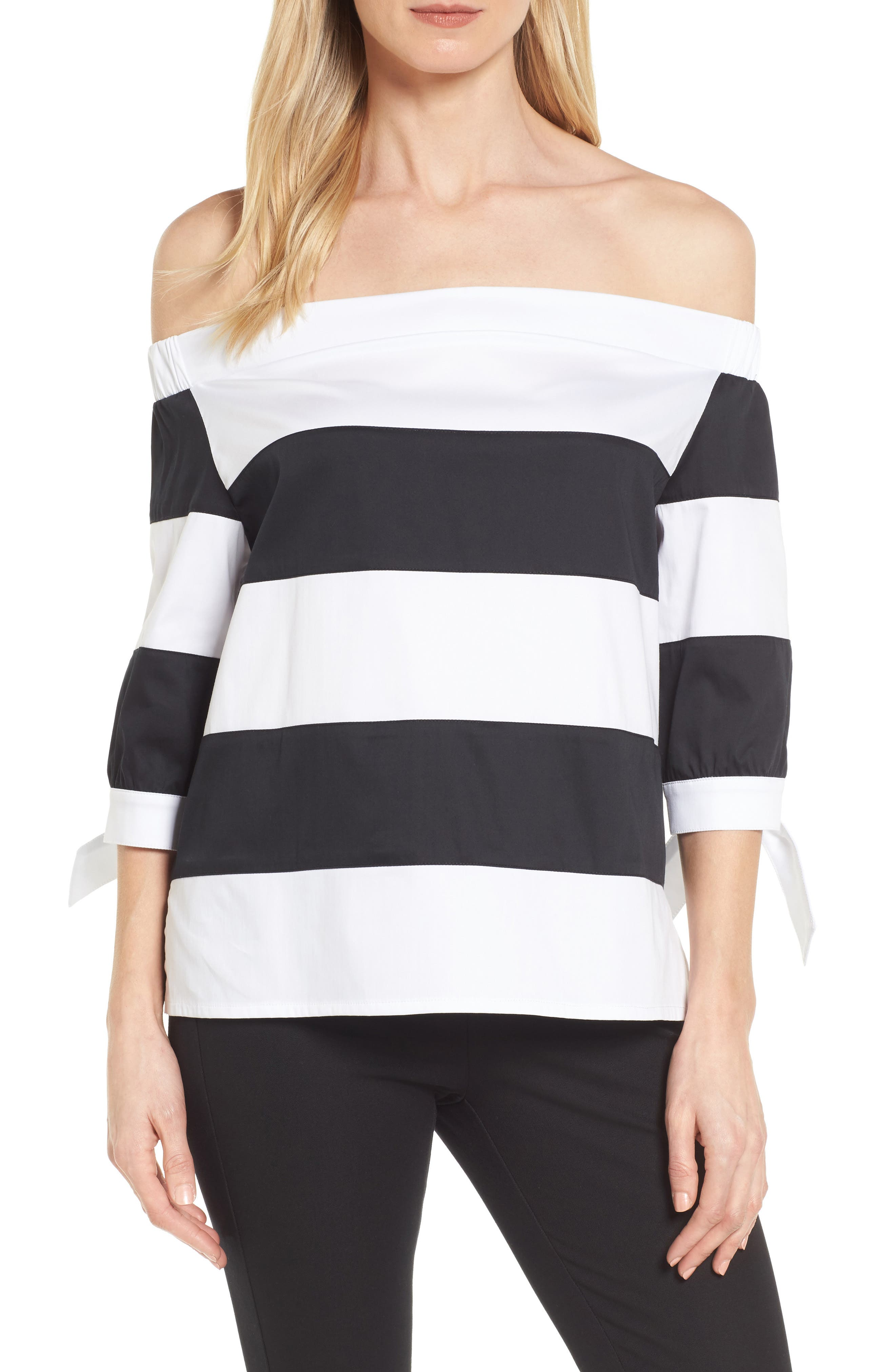 Off the Shoulder Stripe Top,                         Main,                         color, White/ Black